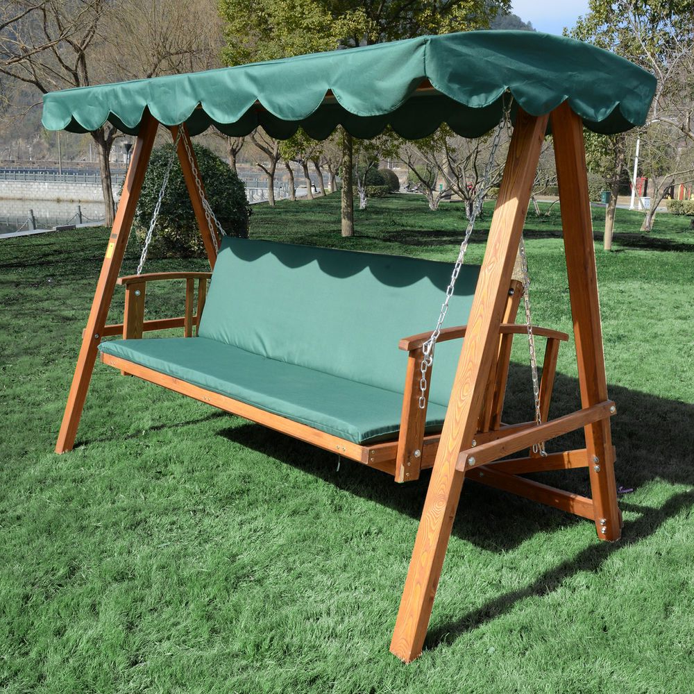 Outsunny Reclining Hardwood Patio Swing Chair Garden Hanging For Preferred Canopy Patio Porch Swings With Pillows And Cup Holders (Gallery 4 of 30)