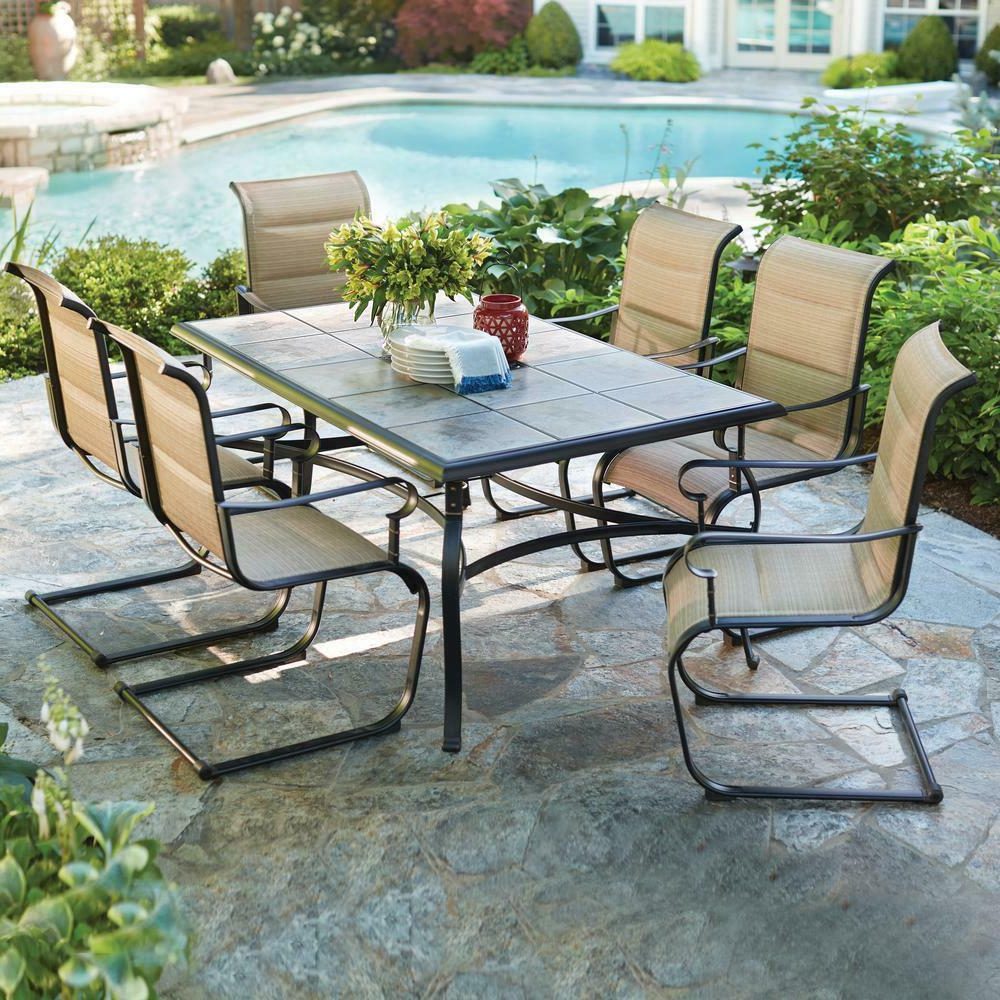 Padded Sling Double Glider Benches Pertaining To Famous Hampton Bay Padded Sling Dining Set Patio Porck Deck Outdoor Belleville 7 Piece (View 19 of 30)