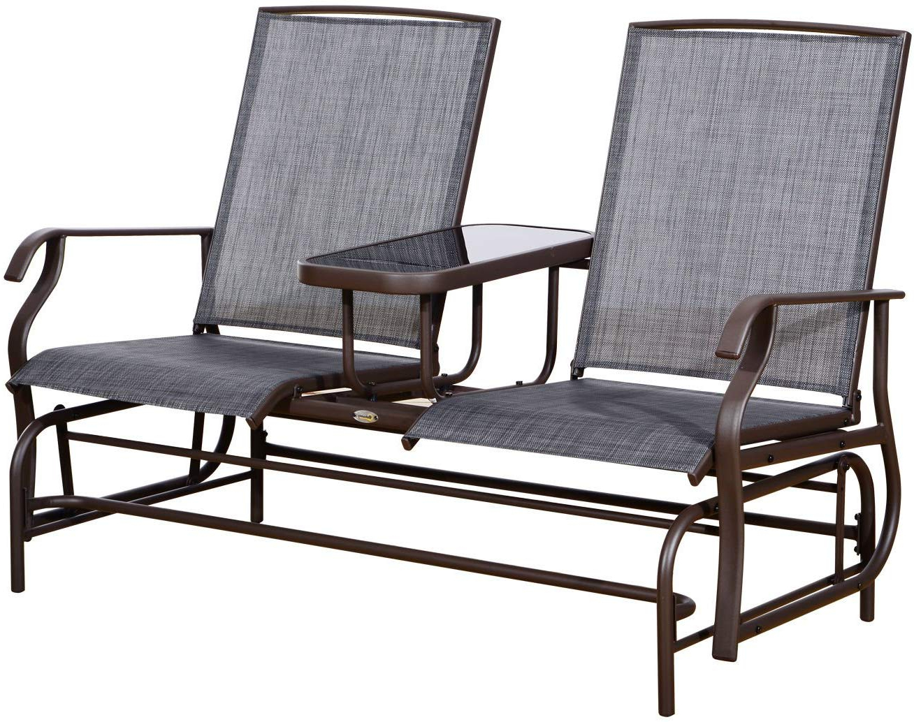Padded Sling Double Glider Benches Within Fashionable Outsunny 2 Person Outdoor Mesh Fabric Patio Double Glider Chair W/center Table (View 17 of 30)