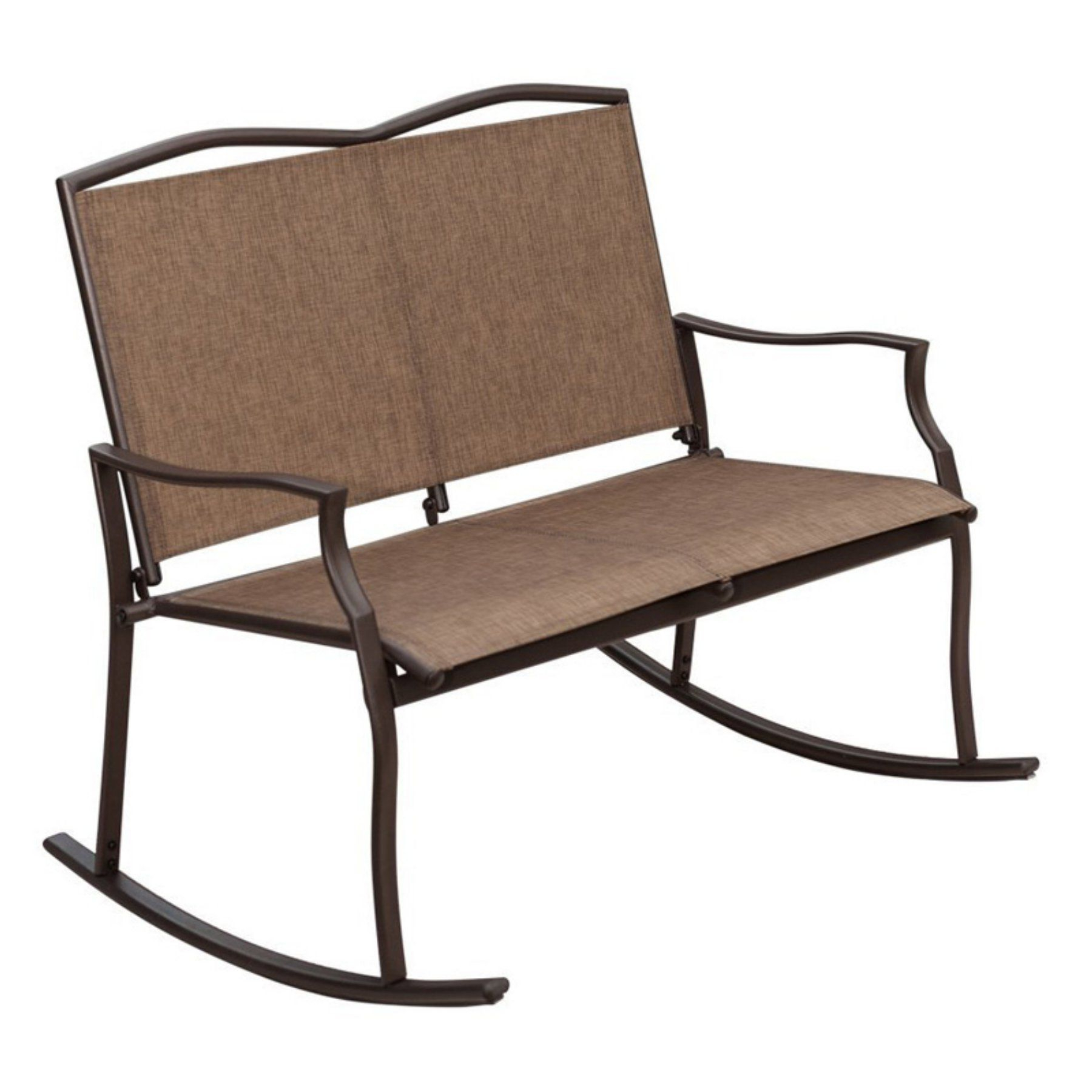 Padded Sling Double Gliders Pertaining To Best And Newest Sunlife Garden Party Sling Loveseat Double Outdoor Rocking (View 7 of 30)