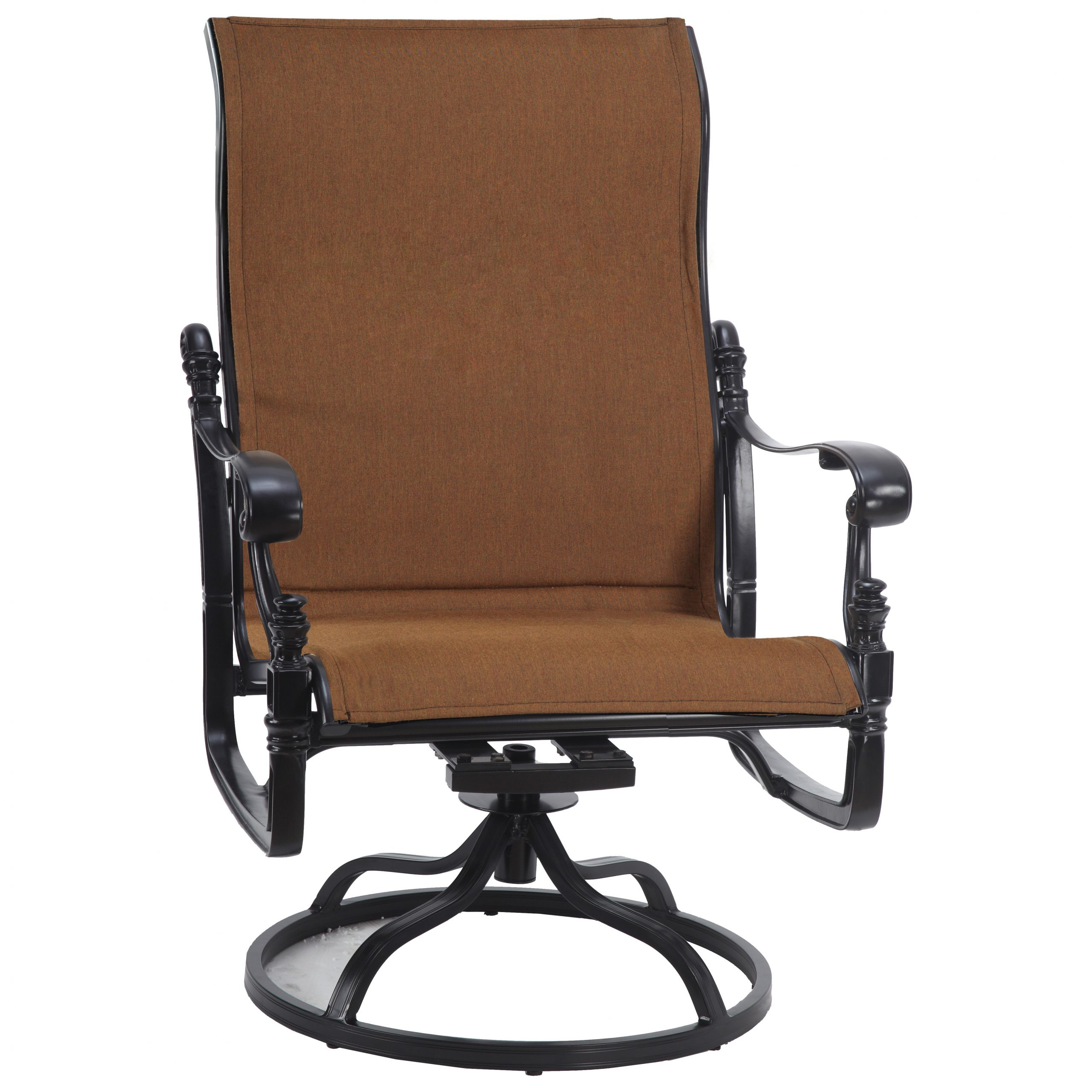 Padded Sling High Back Swivel Chairs Intended For Trendy Gensun Florence Padded Sling Cast Aluminum High Back Swivel Rocking Lounge Chair (View 11 of 30)
