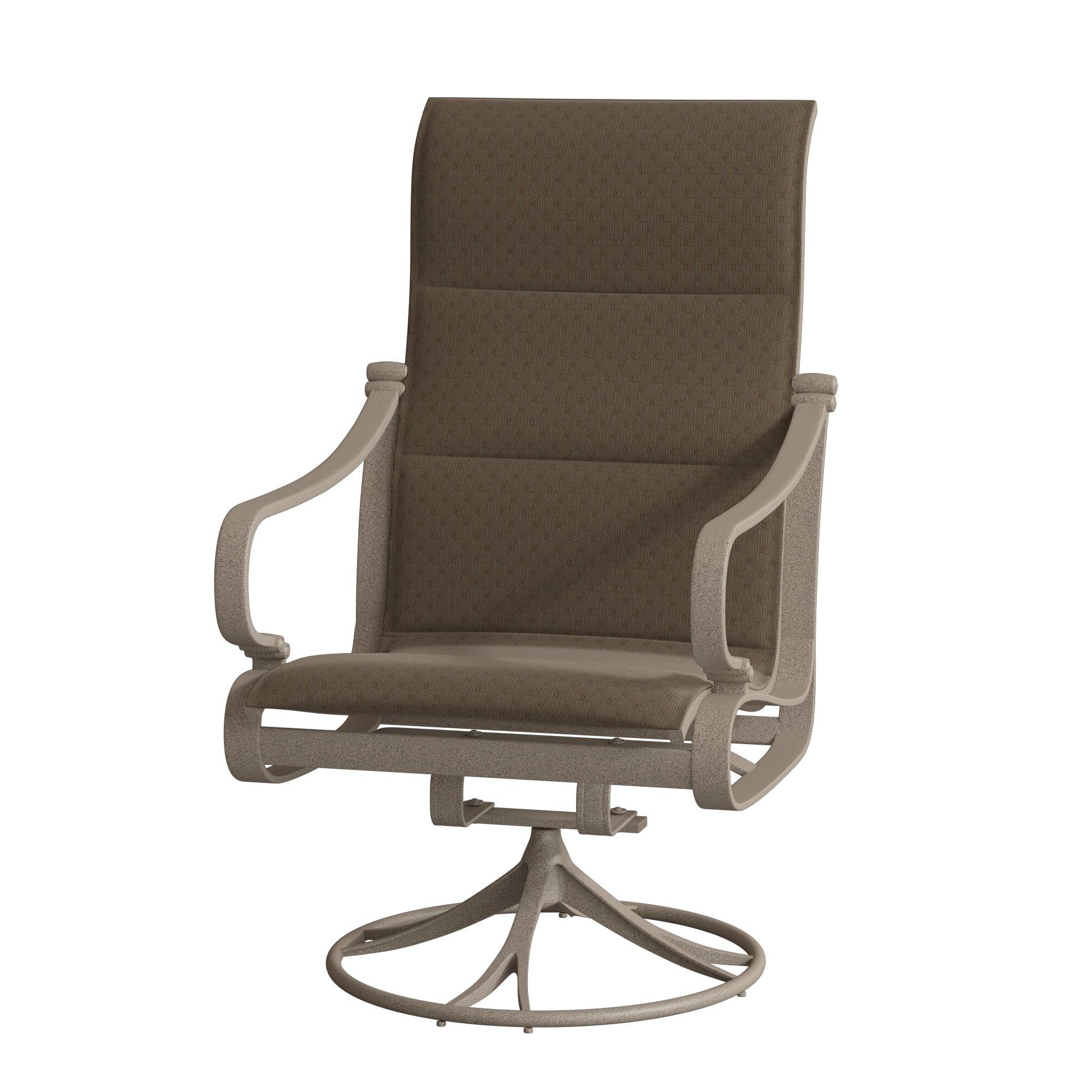 Padded Sling High Back Swivel Chairs Intended For Well Known Torino Padded Sling High Back Swivel Rocking Chair With Cushion (View 17 of 30)