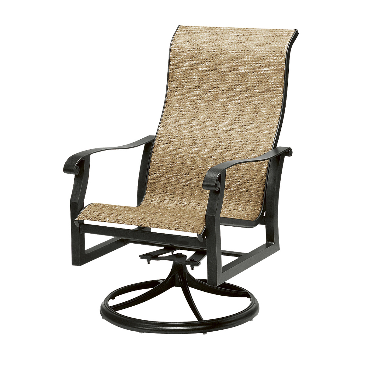Padded Sling High Back Swivel Chairs With Regard To Favorite Milgreen Patio Furniture Cortland Sling Swivel Counter Stool (View 27 of 30)