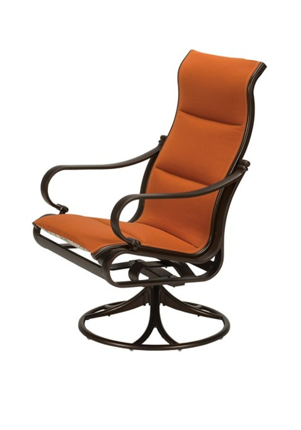 Padded Sling High Back Swivel Chairs Within 2020 Torino Padded Sling High Back Swivel Rocking Chair With Cushion (View 9 of 30)