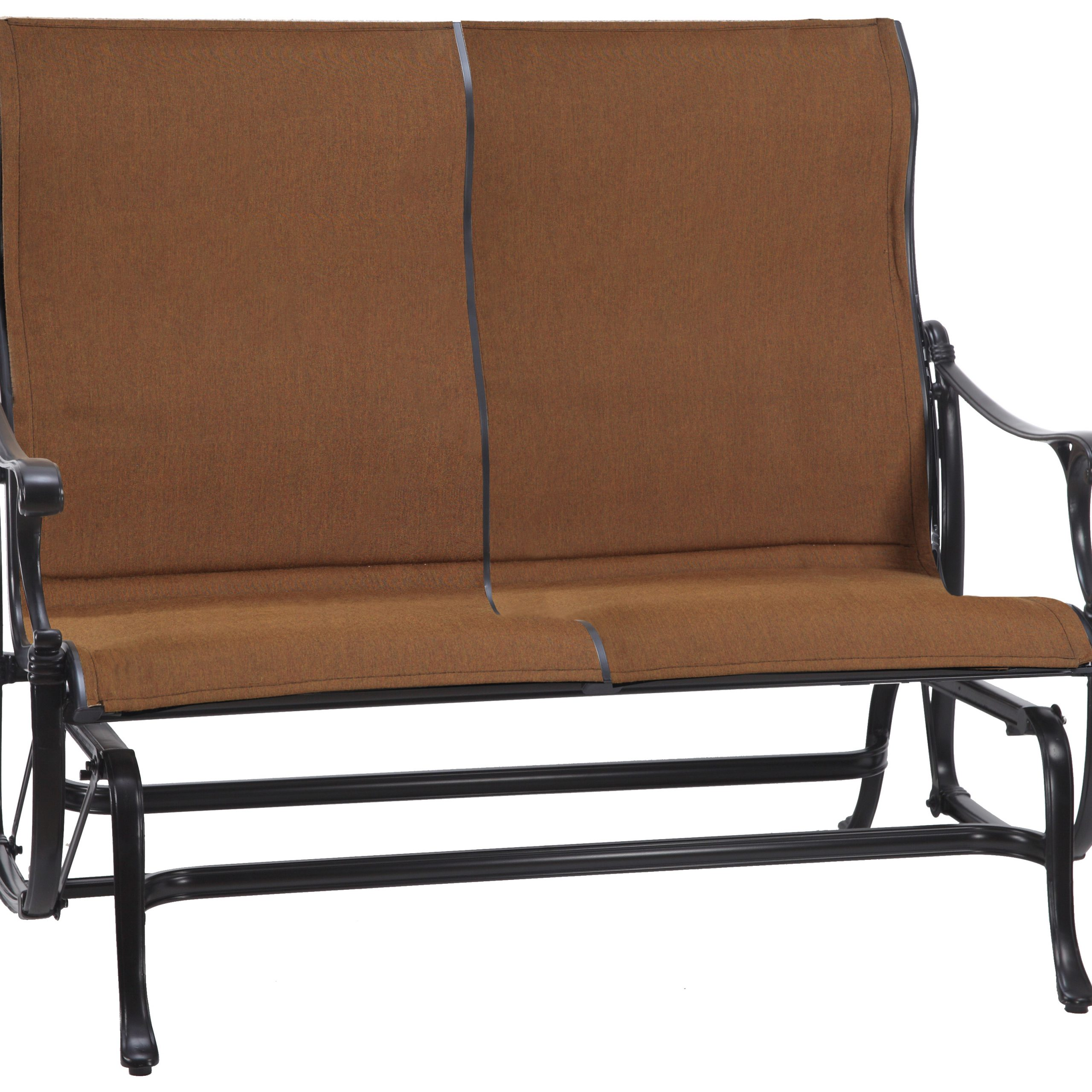 Padded Sling Loveseats With Cushions Pertaining To Most Up To Date Gensun Michigan Padded Sling Cast Aluminum High Back Loveseat Glider (View 13 of 30)