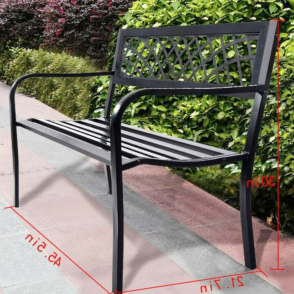 Park Bench Outdoor Front Porch Patio Deck Garden Metal 50 In Steel Frame  Black Intended For Recent Black Outdoor Durable Steel Frame Patio Swing Glider Bench Chairs (View 22 of 30)
