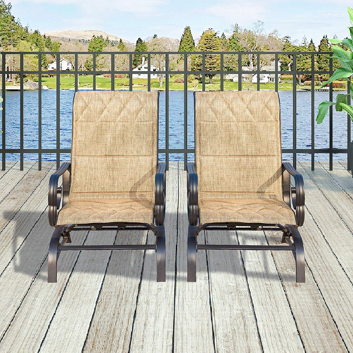 Patio Festival ® Outdoor Swing Glider Chair Patio Swing Furniture Seating Rocking Bistro Chairs Set Of 2,textilene Mesh Steel Frame (2 Pc 1, Beige) With Regard To 2020 Outdoor Patio Swing Glider Bench Chair S (View 6 of 30)