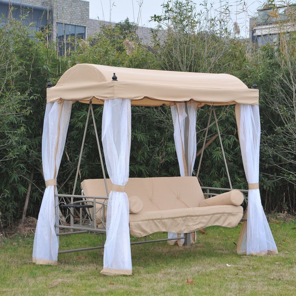 Patio Gazebo Porch Canopy Swings Pertaining To Most Up To Date Canopy Gazebo 3 Person Daybed Outdoor Patio Swing Porch (View 6 of 30)