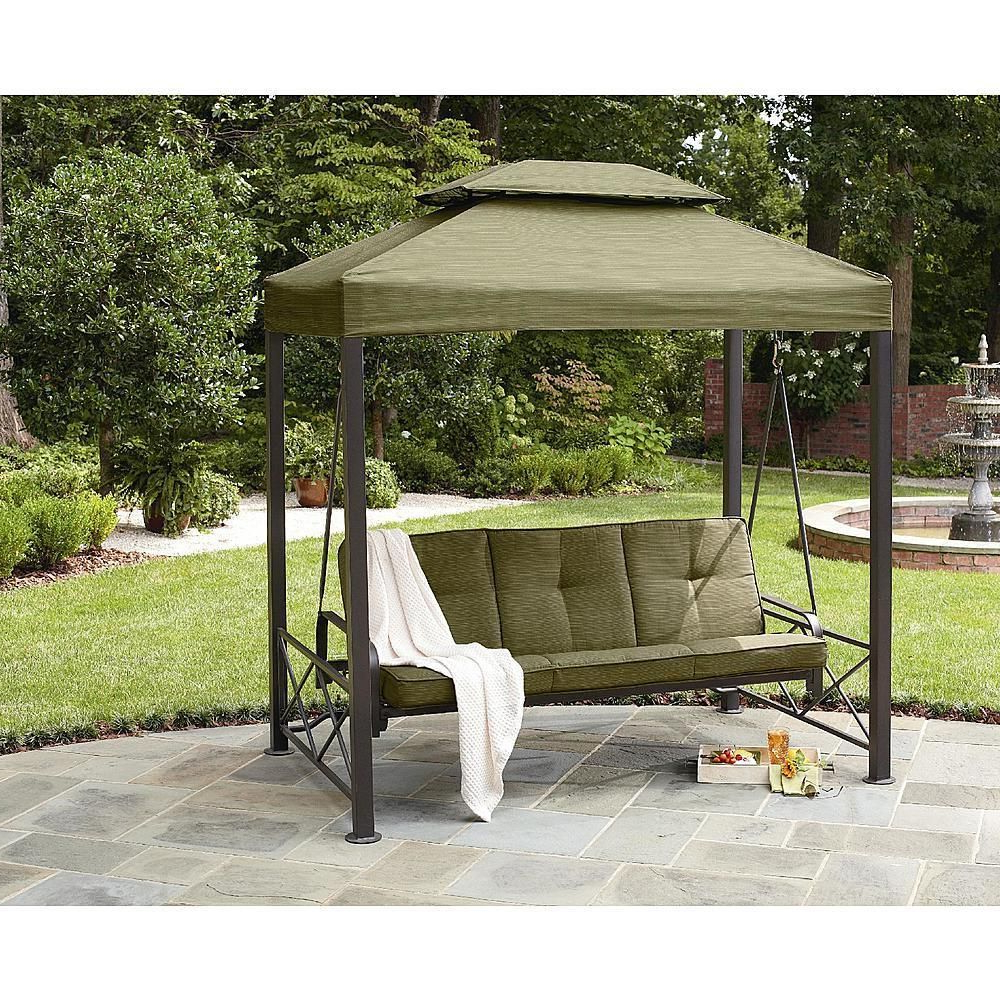 Patio Gazebo Porch Canopy Swings With 2019 Outdoor 3 Person Swing Garden Bench Camopy Patio Lawn (View 2 of 30)