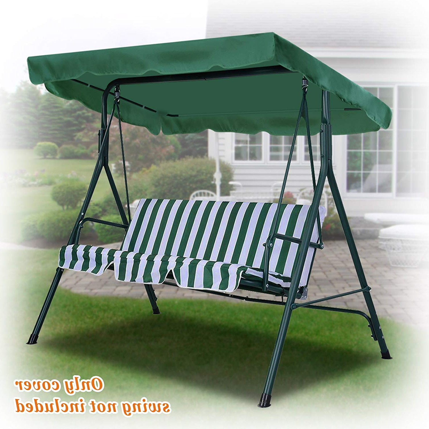 "Patio Gazebo Porch Canopy Swings With Newest Benefitusa Benefitusa Replacement Porch Top Cover For Patio Outdoor Swing Seat Furniture (73""x52"", Green) (View 14 of 30)"