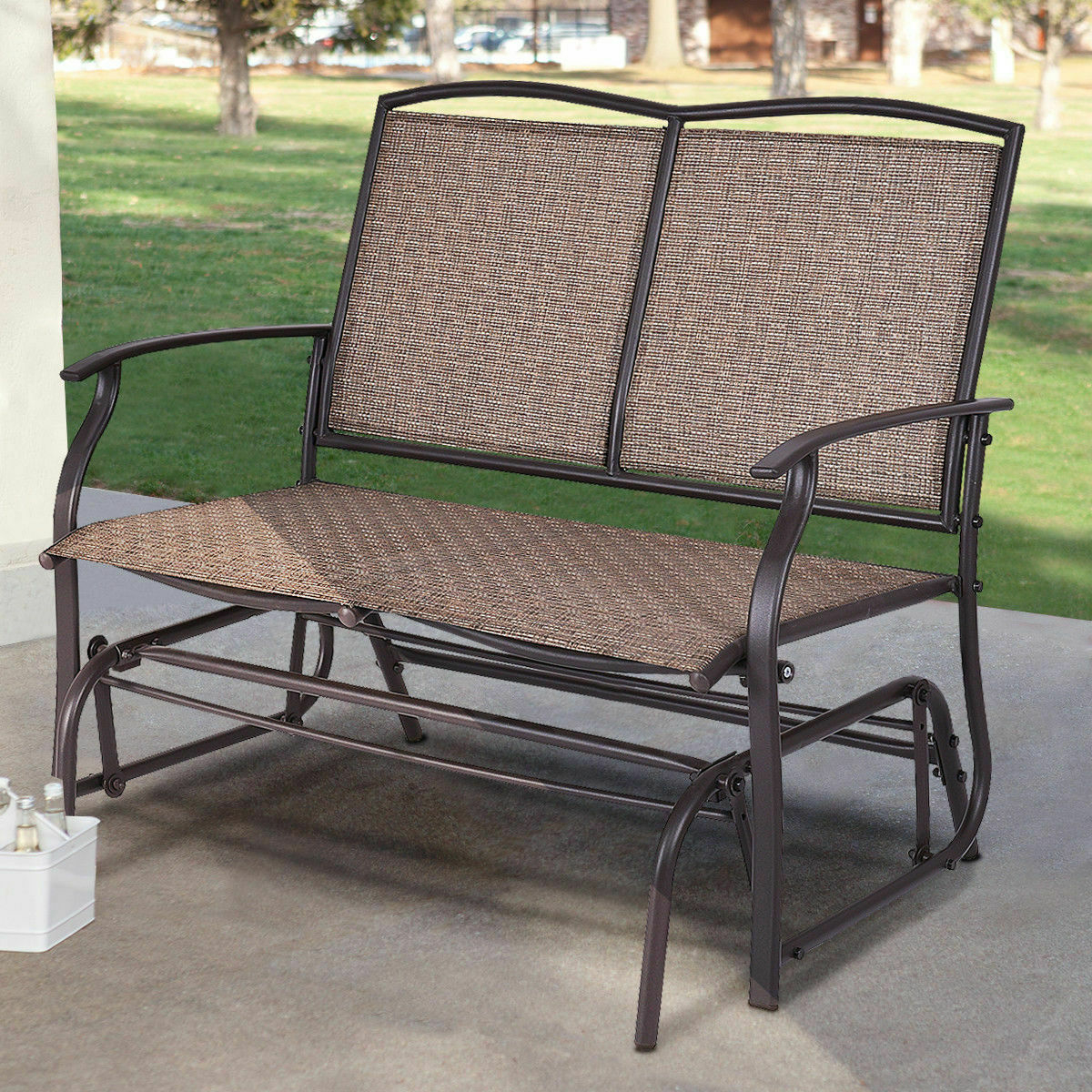 Patio Glider Rocking Bench Double 2 Person Chair Loveseat Armchair Backyard New Within Well Known Double Glider Loveseats (View 19 of 30)