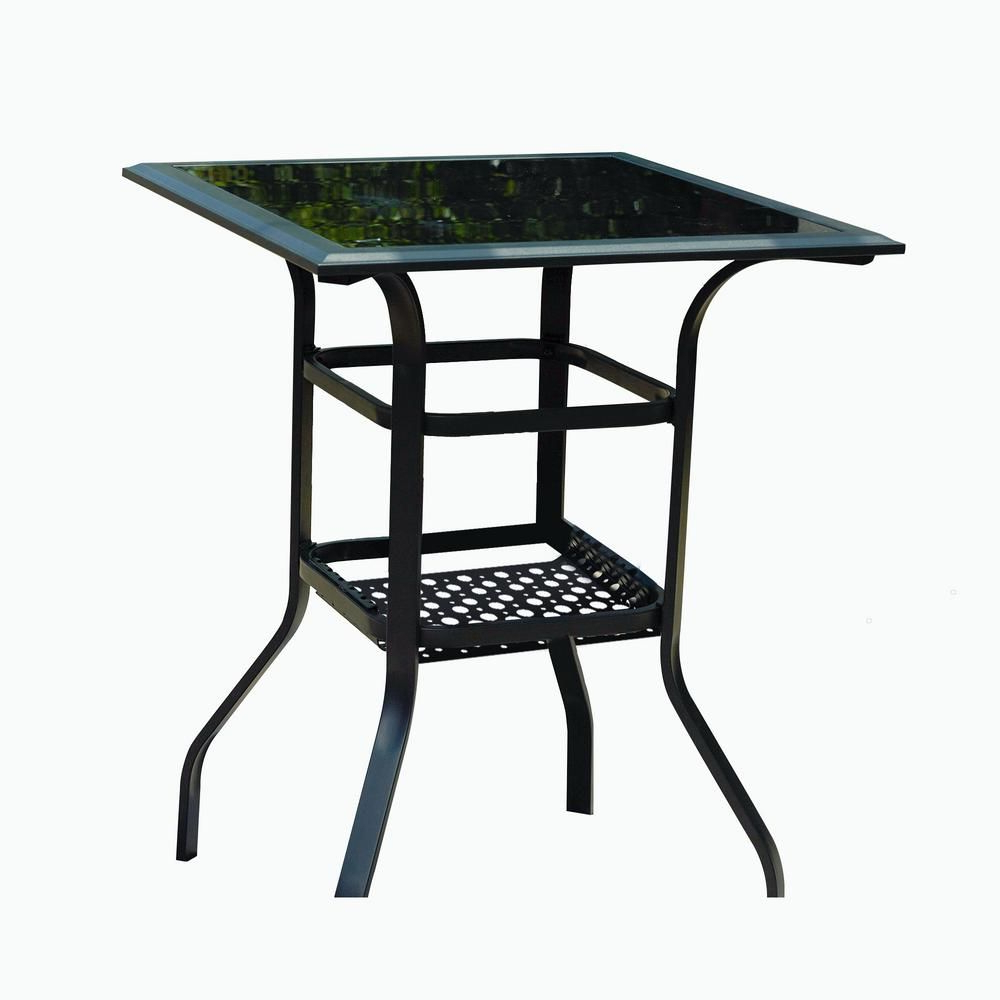 Patio Square Bar Dining Tables For Trendy Patio Festival Square Metal Bar Height Outdoor Dining Table (View 7 of 30)