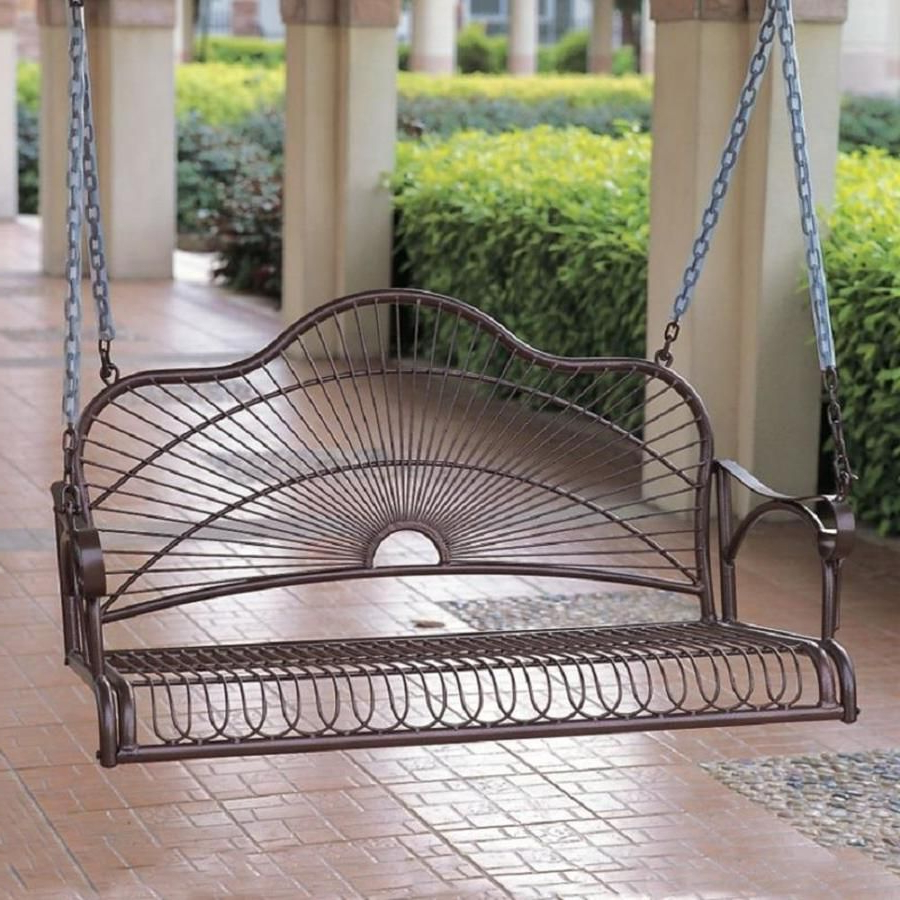 Featured Photo of 2 Person Hammered Bronze Iron Outdoor Swings