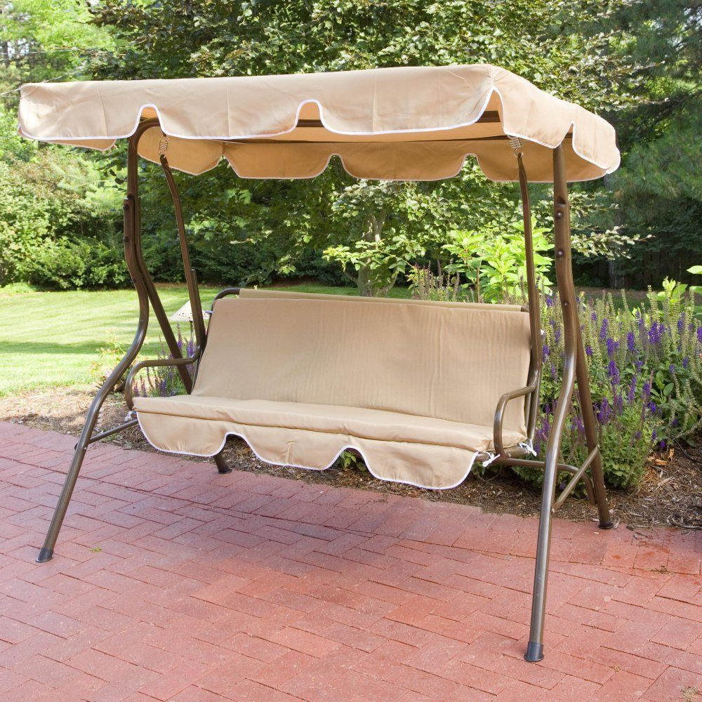 Patio Swing With Canopy Outdoor Adjustable 2 Person Tilt Porch Swings Metal In Most Current 2 Person Adjustable Tilt Canopy Patio Loveseat Porch Swings (View 2 of 30)