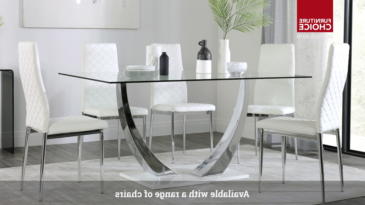 Peake Glass & Chrome Dining Table (white Gloss Base) With Regard To Fashionable Chrome Dining Tables With Tempered Glass (View 28 of 30)