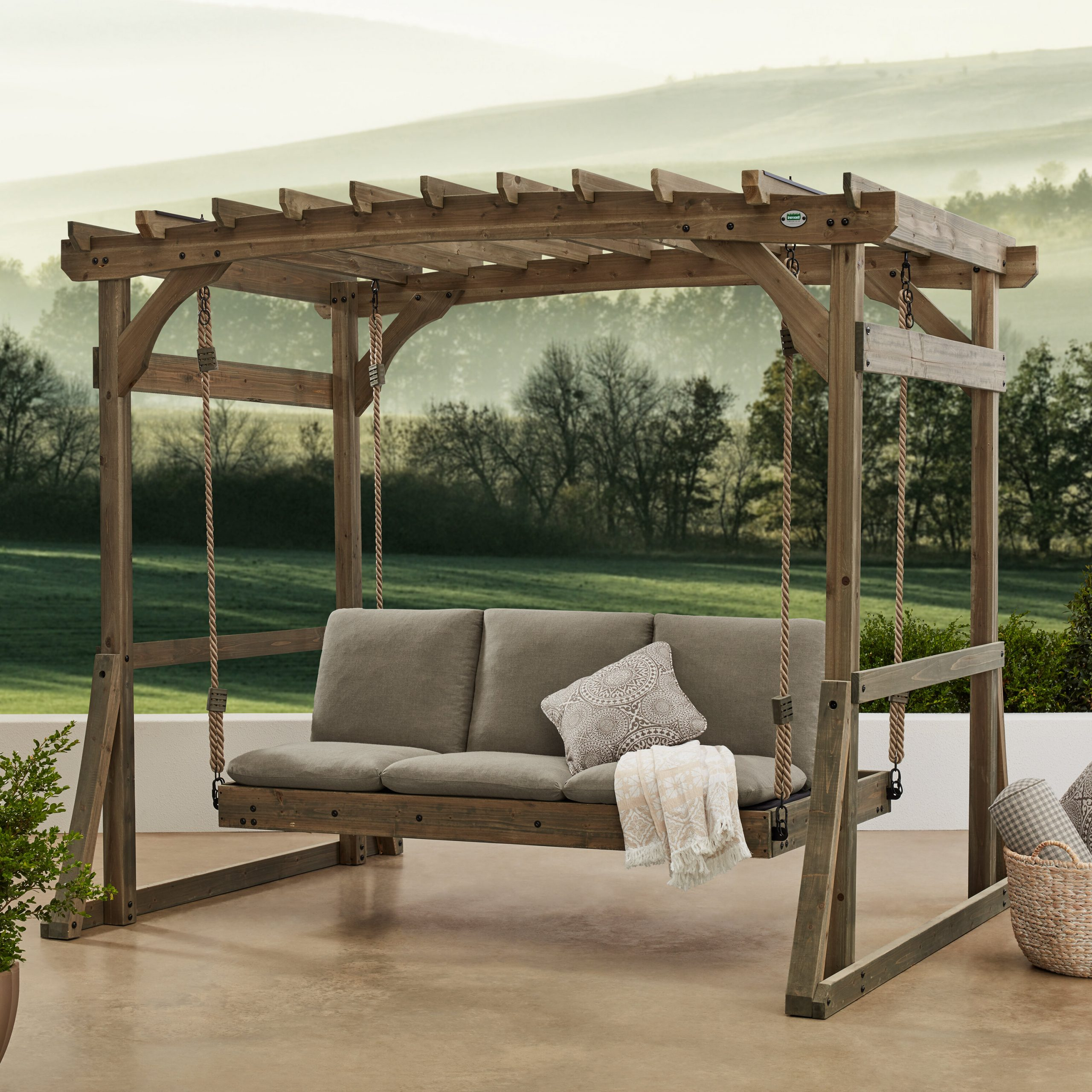 Pergola Porch Swings With Stand With Regard To Famous Claremont Pergola Lounger Porch Swing With Stand (View 30 of 30)