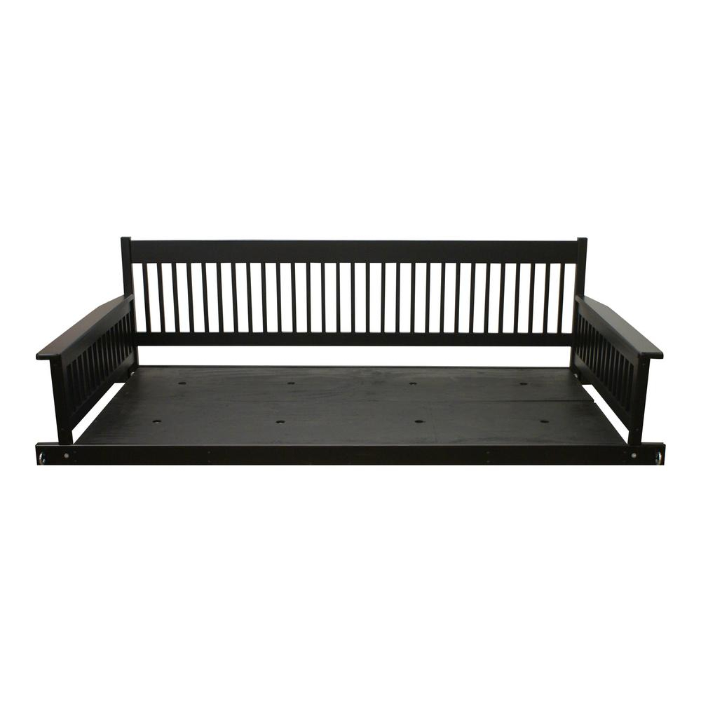Plantation 2 Person Daybed Wooden Black Porch Patio Swing With Regard To Trendy 2 Person Black Wood Outdoor Swings (View 29 of 30)