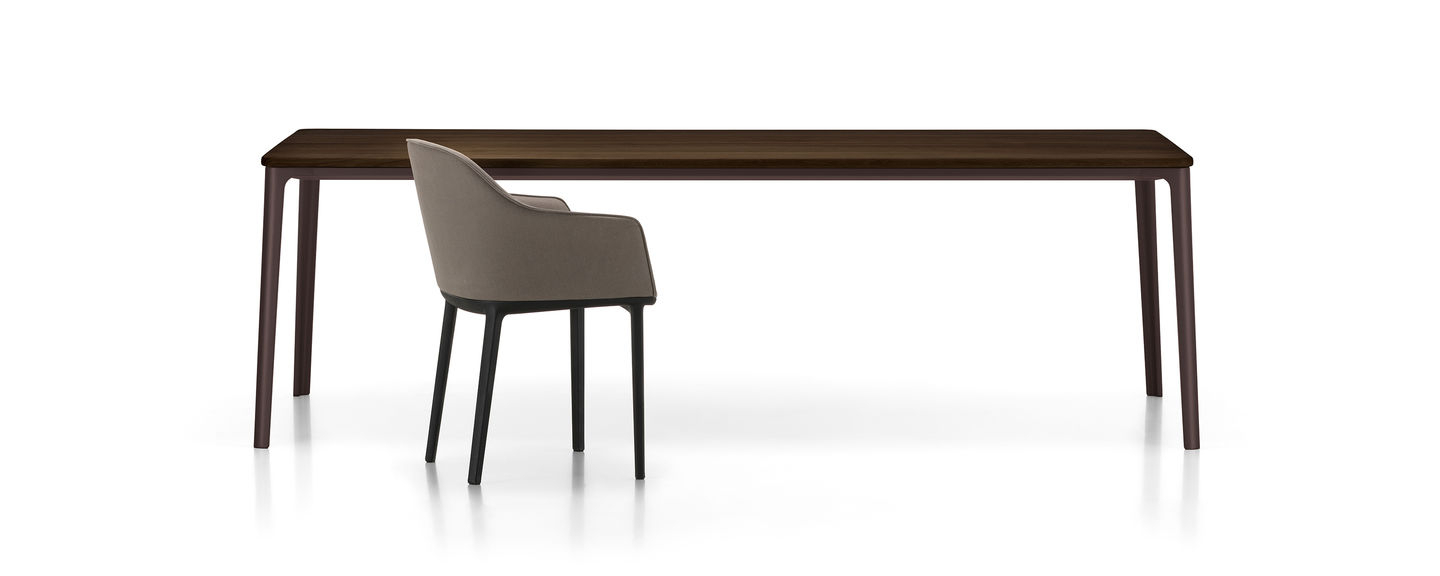 Plate Dining Table Regarding Frosted Glass Modern Dining Tables With Grey Finish Metal Tapered Legs (View 12 of 30)