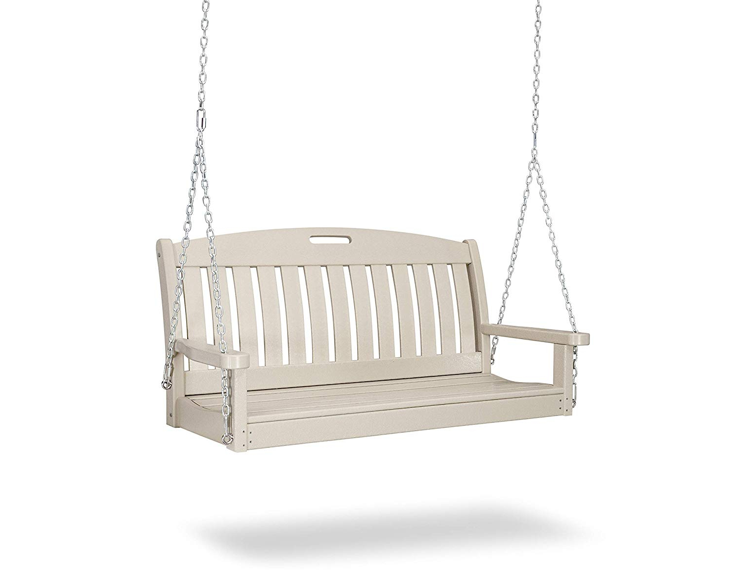 """Polywood Ns48sa Nautical 48"""" Swing, Sand In Most Recent Vineyard 2 Person Black Recycled Plastic Outdoor Swings (View 3 of 30)"""