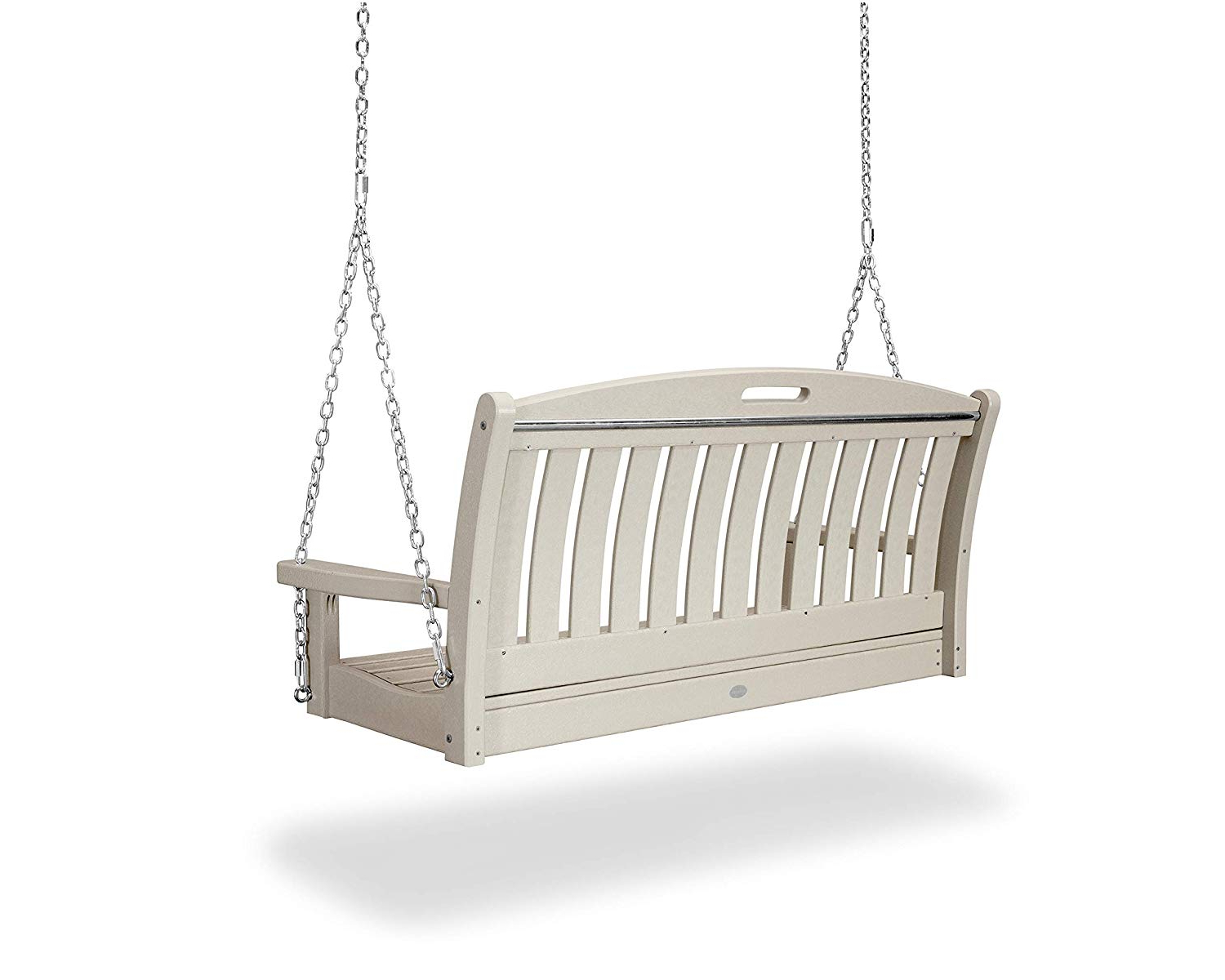 """Polywood Ns48sa Nautical 48"""" Swing, Sand Throughout Preferred Vineyard 2 Person Black Recycled Plastic Outdoor Swings (View 12 of 30)"""