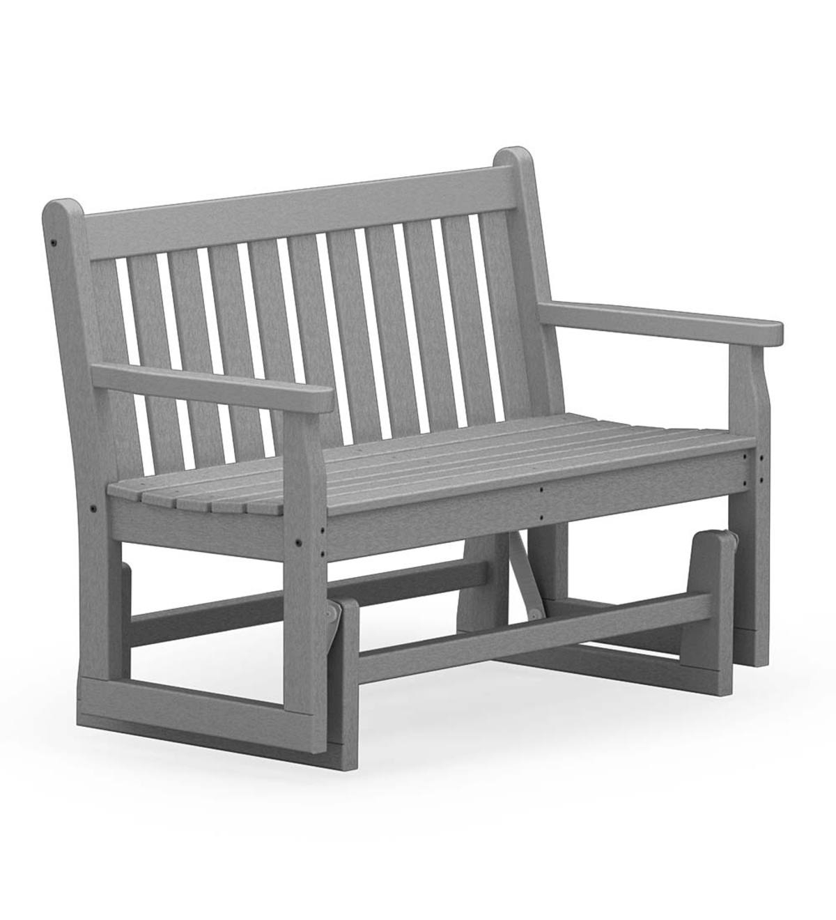 Polywood Outdoor Glider Bench – Gray (View 10 of 30)