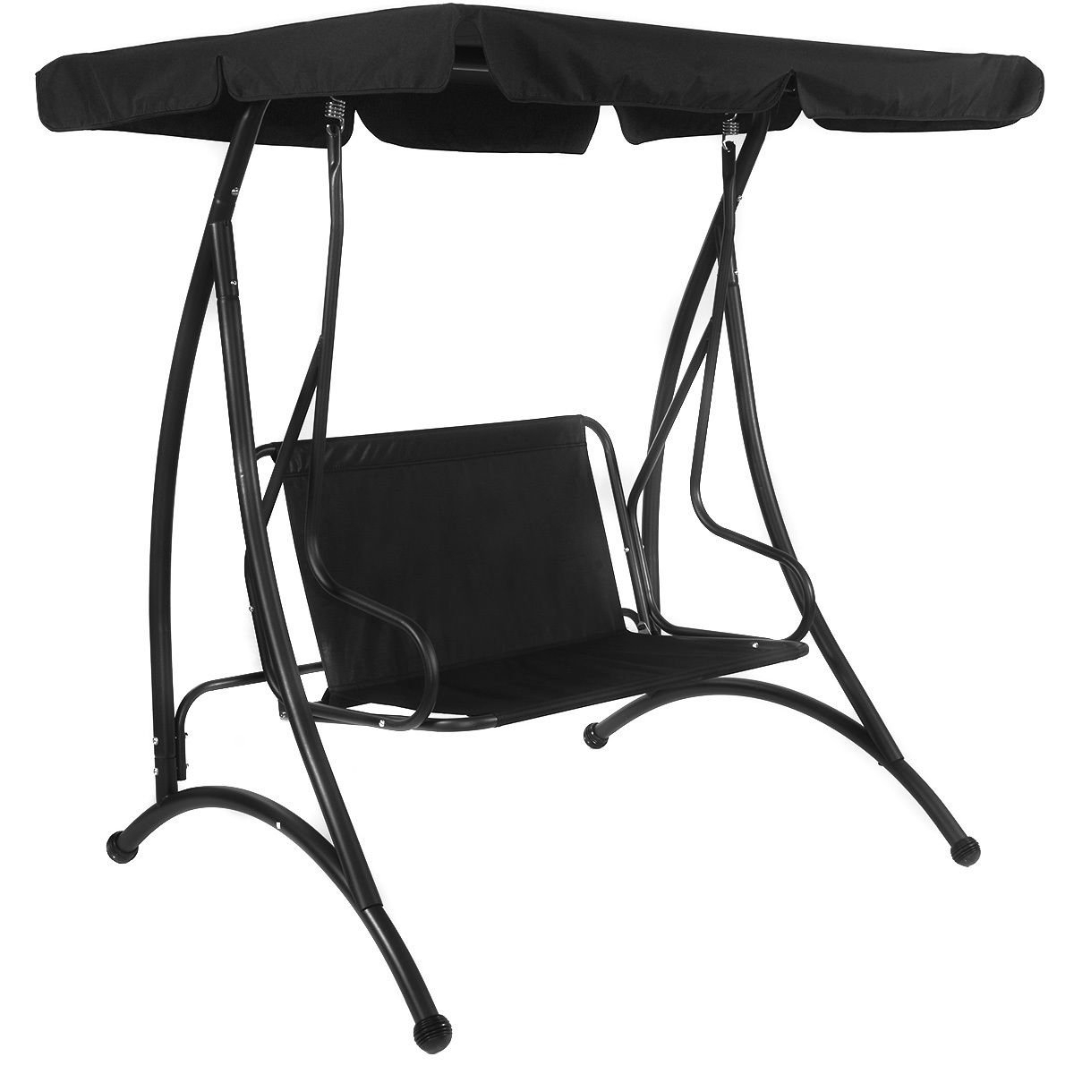 Popular 2 Person Adjustable Tilt Canopy Patio Loveseat Porch Swings Intended For Amazon : Black Patio Loveseat Swing Canopy Comfortable W (View 22 of 30)