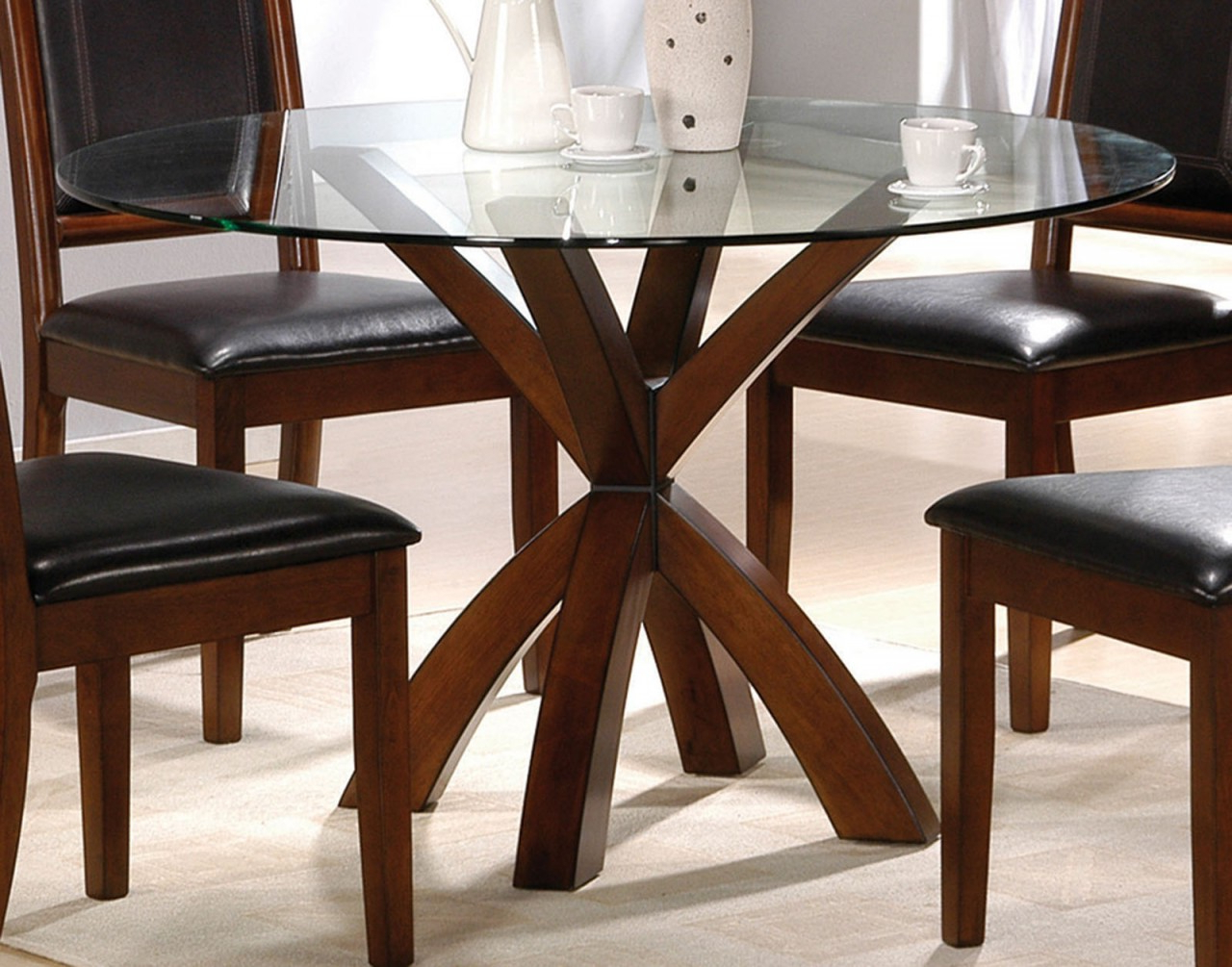 Popular 4 Seater Round Wooden Dining Tables With Chrome Legs Throughout Dining Table Bases For Glass Tops (View 23 of 30)
