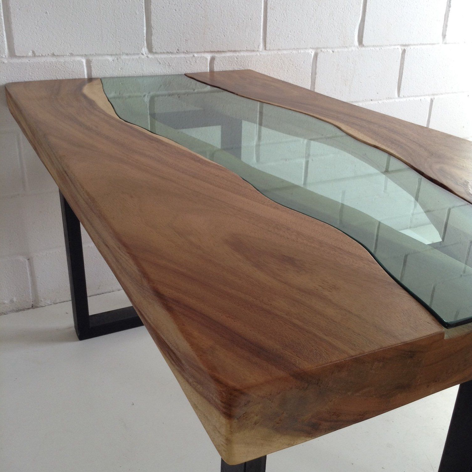 Popular Acacia Wood Top Dining Tables With Iron Legs On Raw Metal With Regard To Live Edge Acacia Wood Dining Table With Glass River Centre (View 7 of 30)