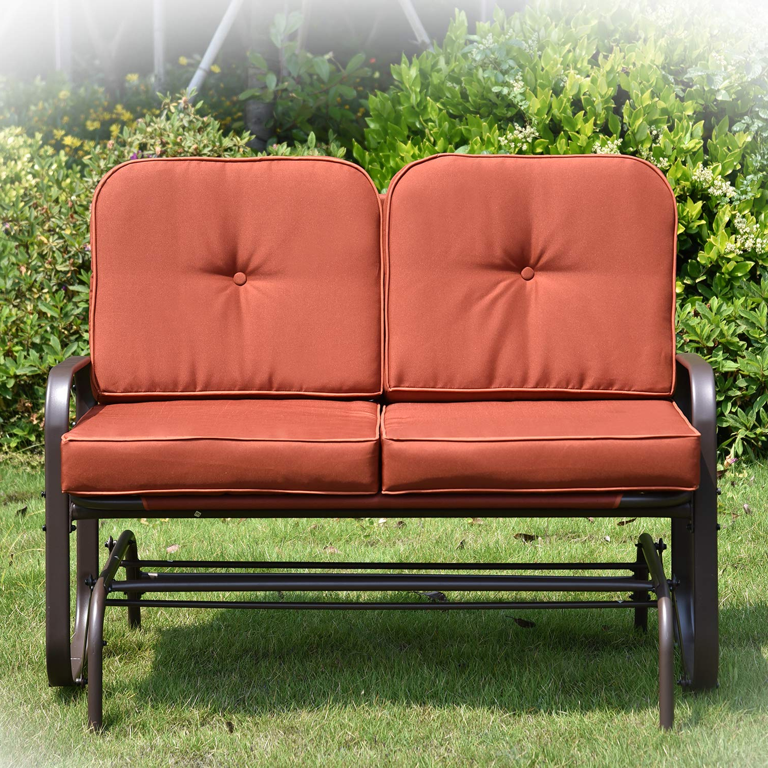 Popular Amazon: Broad Patio Glider Bench Loveseat With Removable Inside Rocking Glider Benches With Cushions (View 15 of 30)