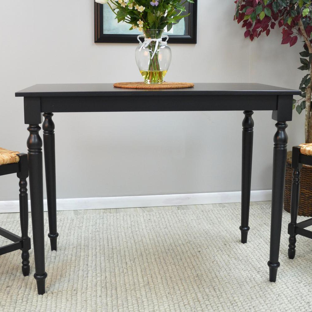 Popular Antique Black Wood Kitchen Dining Tables Within Hawthorne Antique Black Pub/bar Table (View 17 of 30)
