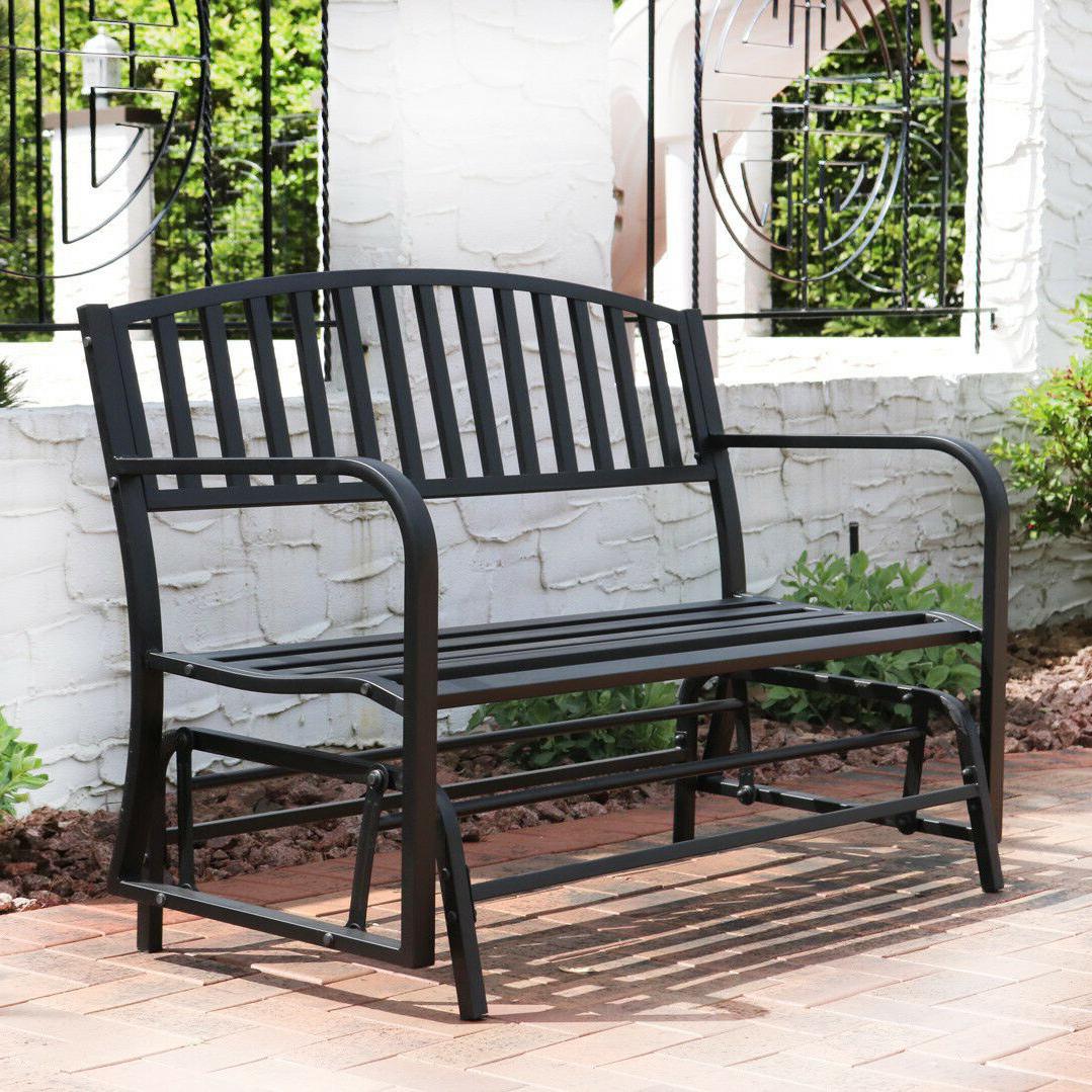 Popular Bench Glider Rocking Chair Outdoor Patio Garden Furniture Deck Loveseat,  Black Throughout Metal Retro Glider Benches (View 22 of 30)