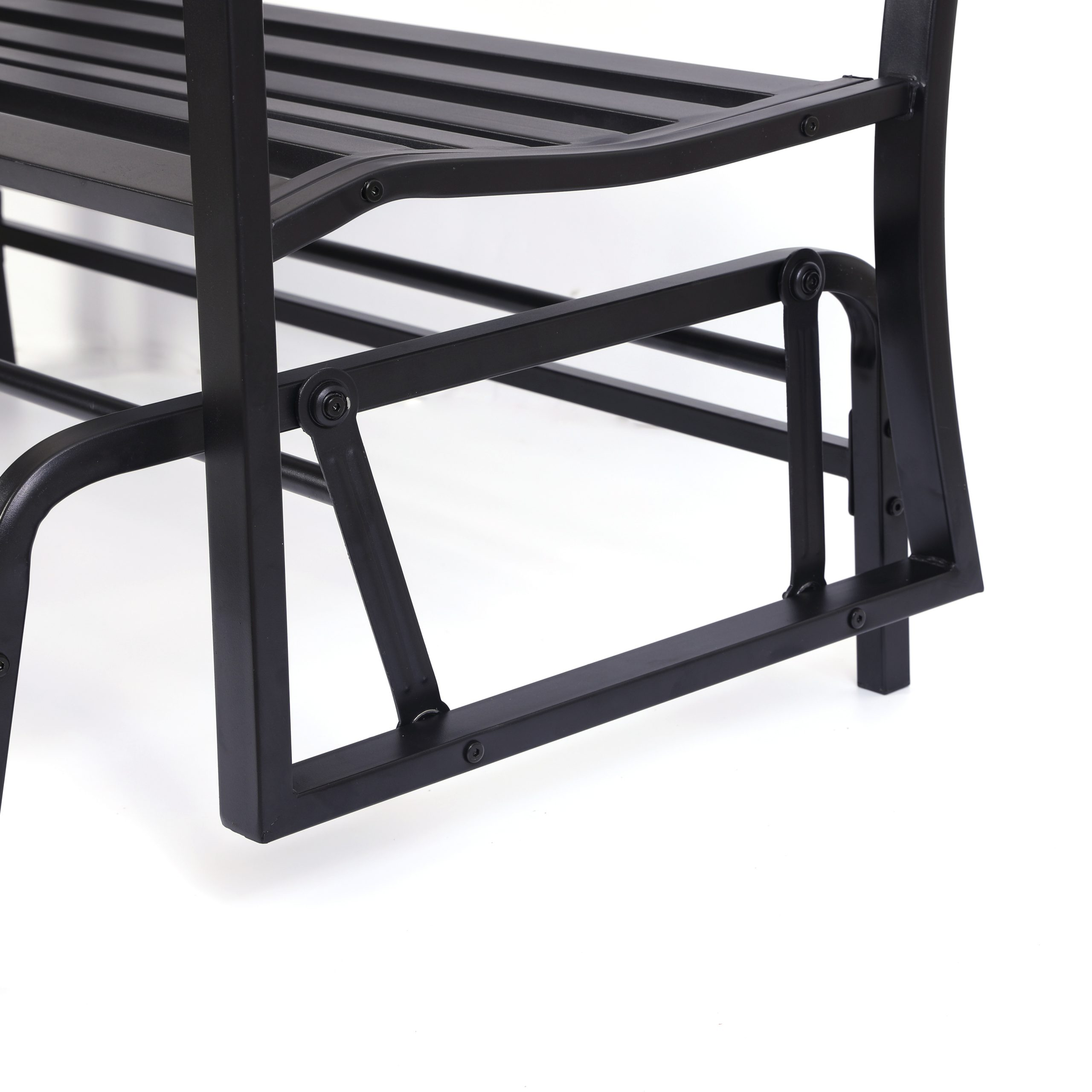 "Popular Black Steel Patio Swing Glider Benches Powder Coated Intended For Details About Gardenised Black Steel Patio Garden Park Yard 50"" Outdoor  Swing Glider Bench (View 24 of 30)"