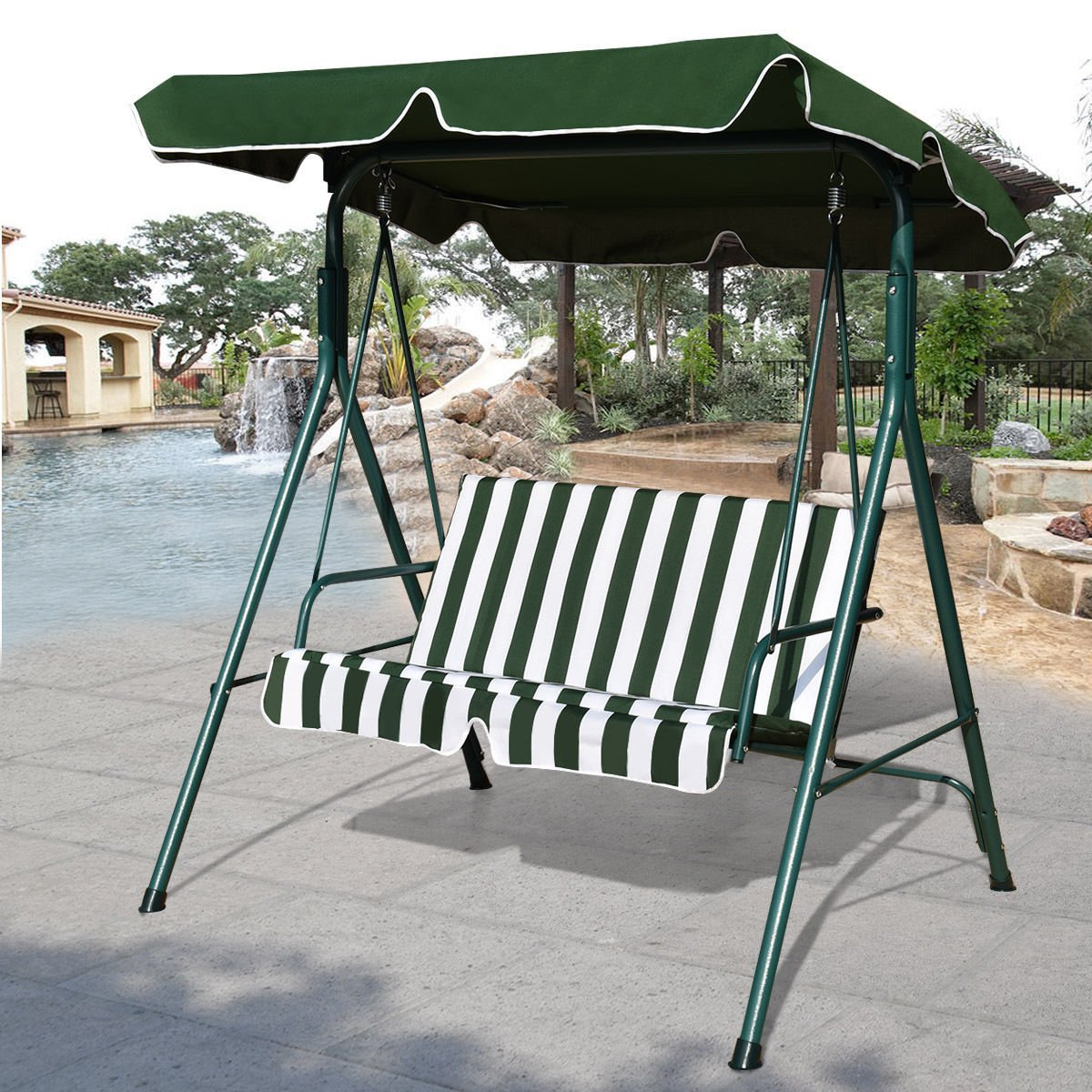 Popular Cheap Canopy For Garden Swing Seat, Find Canopy For Garden For 2 Person Gray Steel Outdoor Swings (View 10 of 30)
