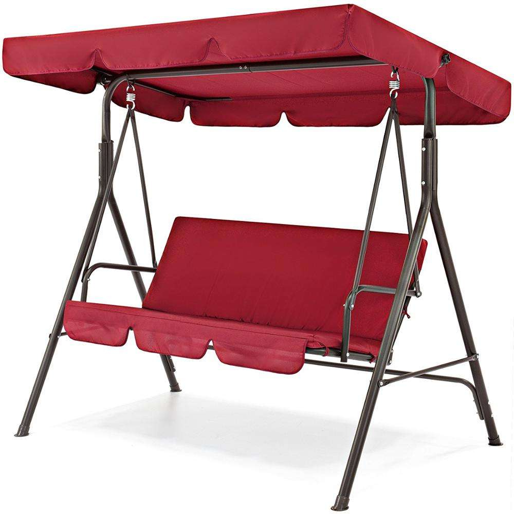 Popular China Garden Swing Canopy, China Garden Swing Canopy For 3 Person Red With Brown Powder Coated Frame Steel Outdoor Swings (View 27 of 30)