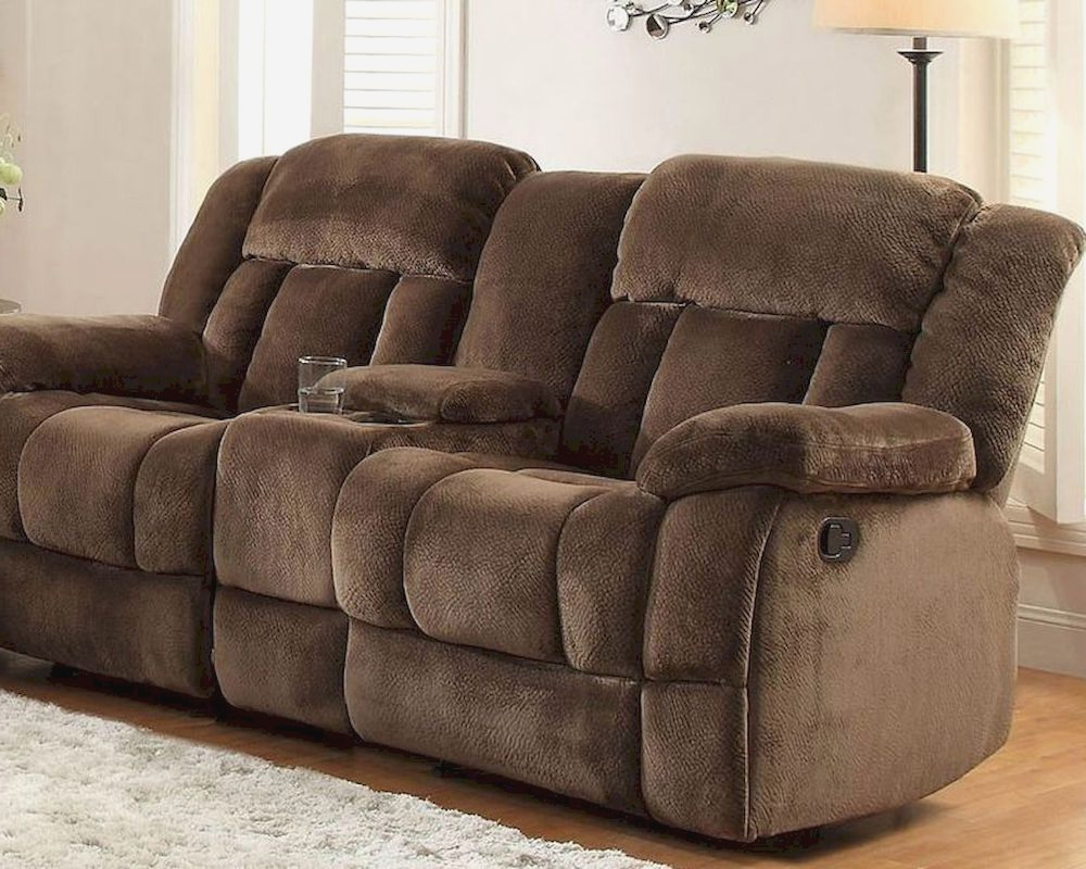 Popular Chocolate Double Glider Reclining Loveseat Laureltonfor For Double Glider Loveseats (View 4 of 30)