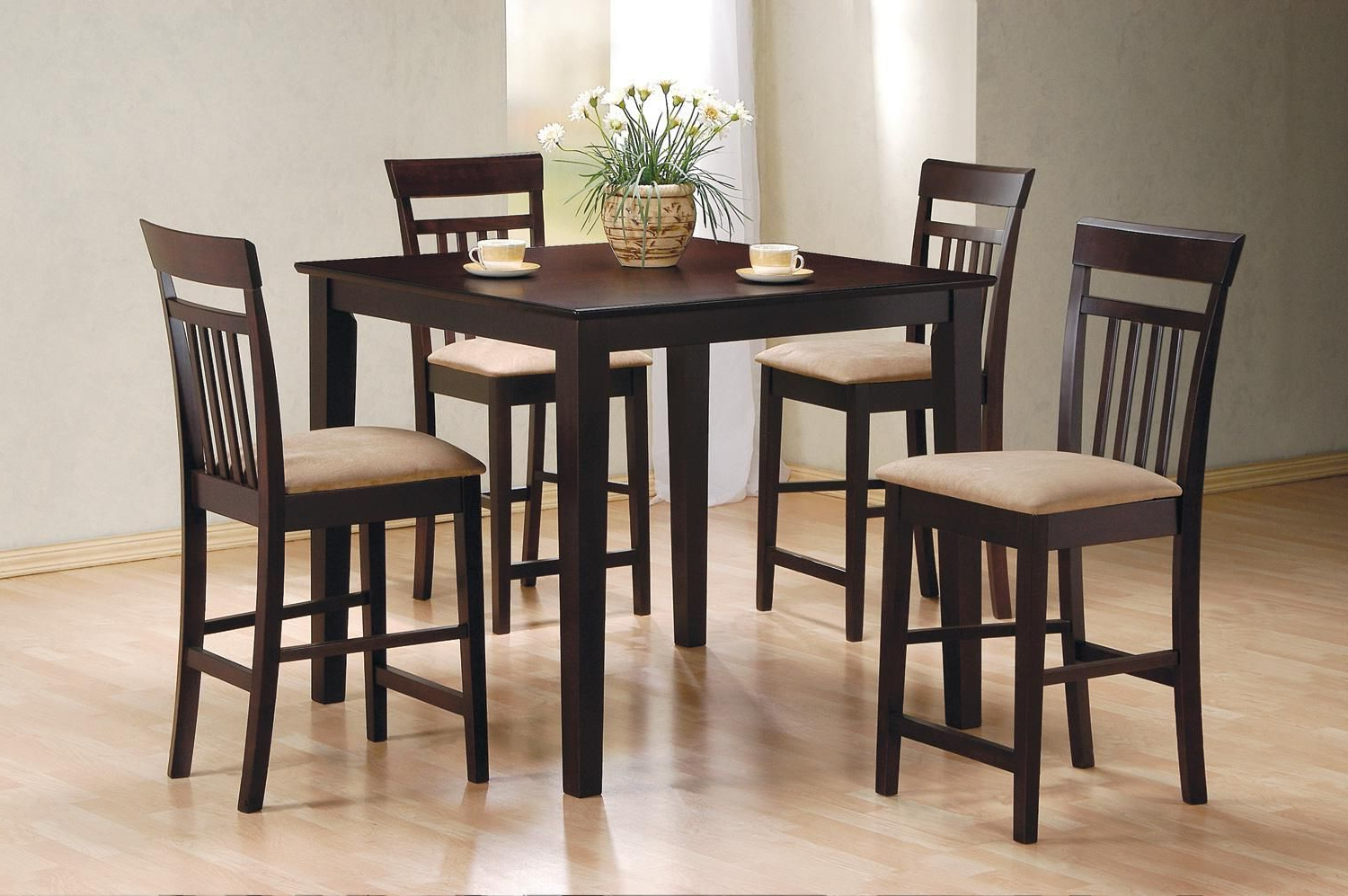 Popular Coaster 5 Piece Square Cappuccino Counter Height Dining Pertaining To Cappuccino Finish Wood Classic Casual Dining Tables (View 22 of 30)