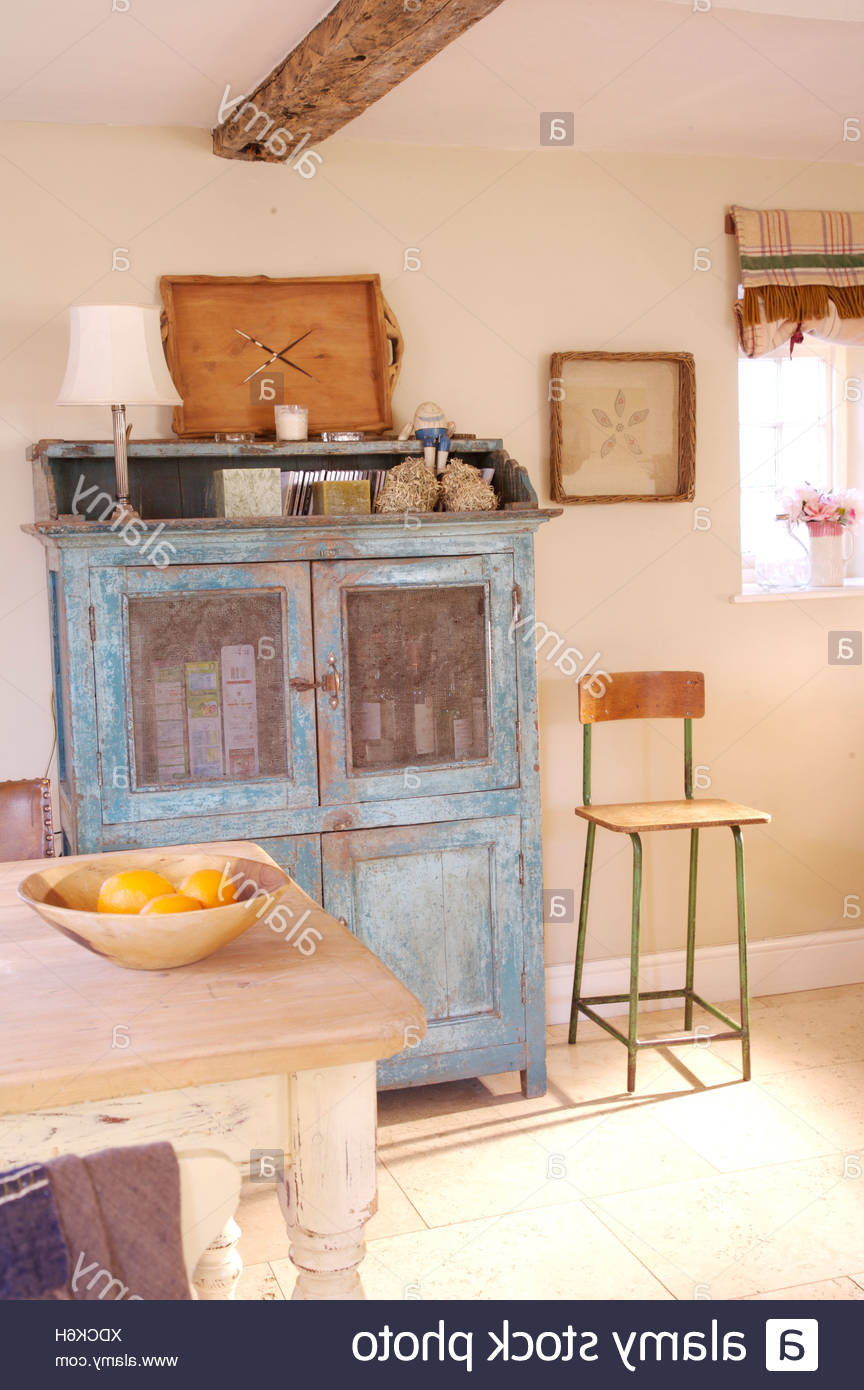 Popular Country Dining Tables With Weathered Pine Finish Inside Blue Dresser With Distressed Finish In Country Dining Room (View 22 of 30)