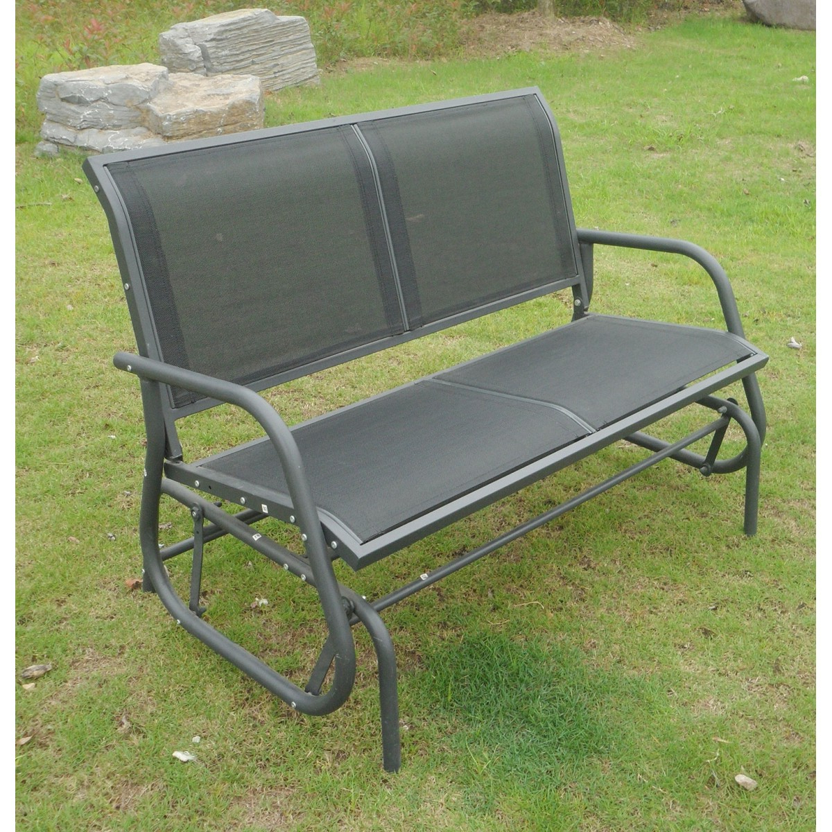 Popular Grey Garden Seat 2 Seater Glider Rocking Bench & Mesh Intended For Twin Seat Glider Benches (View 18 of 31)