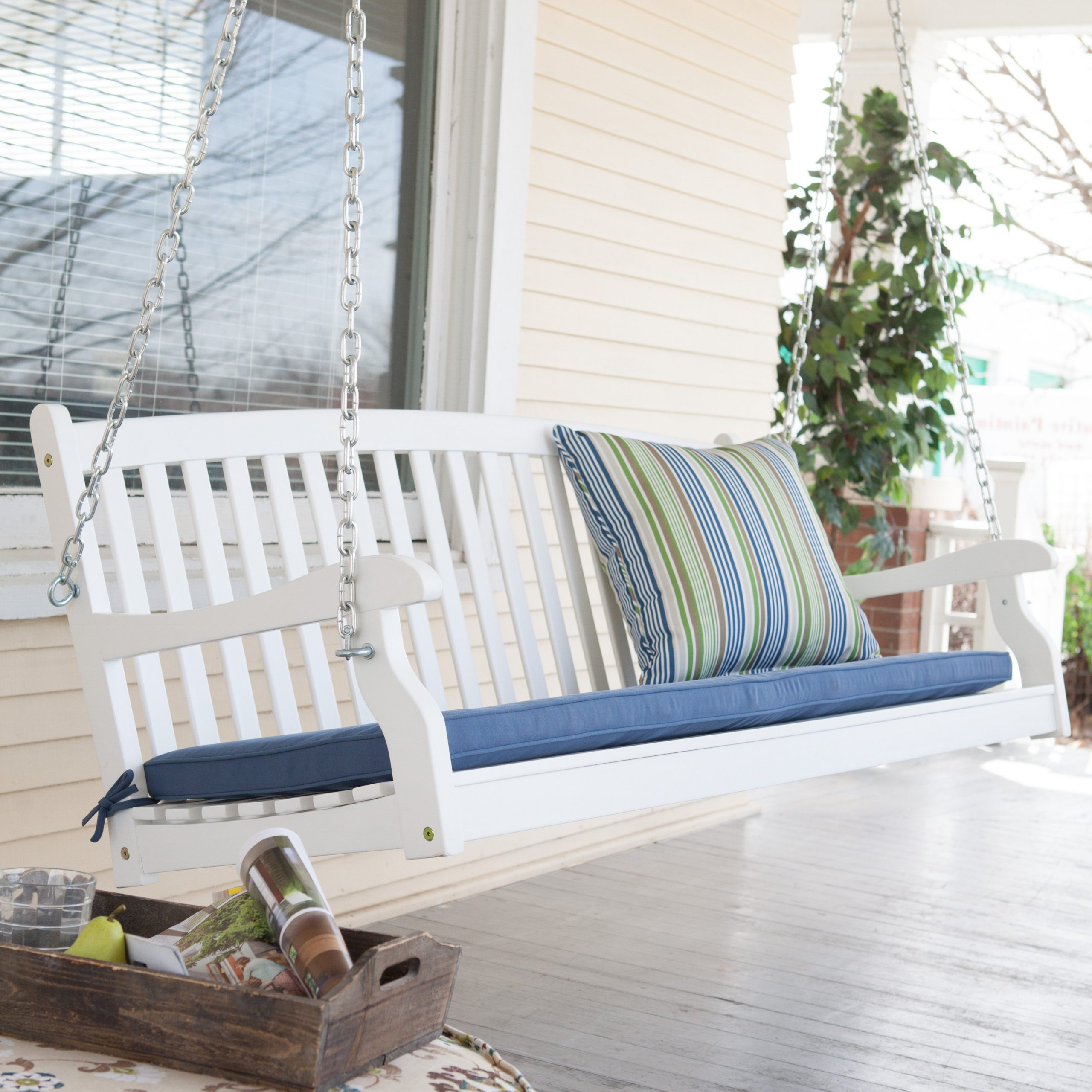 Popular Inspirations: Enjoy Your All Day With Cozy Wooden Porch Intended For Hardwood Hanging Porch Swings With Stand (View 21 of 30)