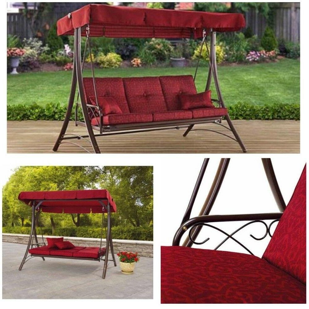 Popular Mainstays Callimont Park 3 Seat Canopy Porch Swing Bed With Porch Swings With Canopy (View 28 of 30)