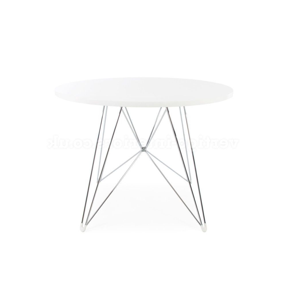 Popular Mid Century Modern Eames Style White Round Dining Table With Eames Style Dining Tables With Chromed Leg And Tempered Glass Top (View 22 of 30)