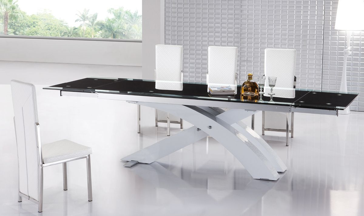 Popular Modern Glass Top Extension Dining Tables In Stainless In Dining Room : Luxury Modern Contemporary Dining Table With (View 21 of 30)