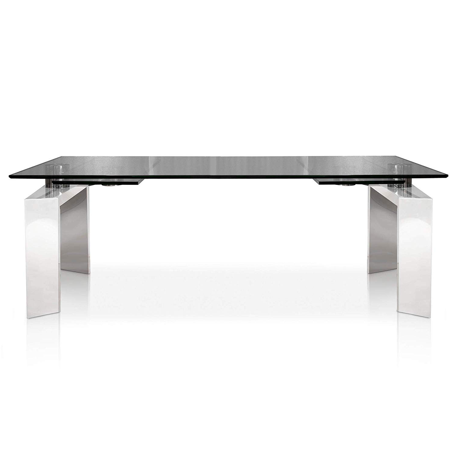 Popular Modern Glass Top Extension Dining Tables In Stainless Intended For Amazon – Mo Extension Dining Table, Stainless Steel – Tables (View 22 of 30)
