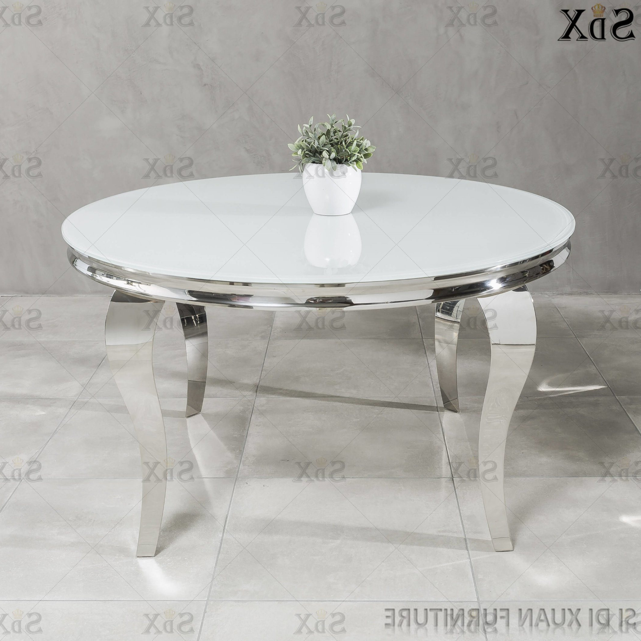 Popular Modern Round Glass Top Dining Tables For Modern Round Table Dining Room Furniture Set Glass Top (View 16 of 30)
