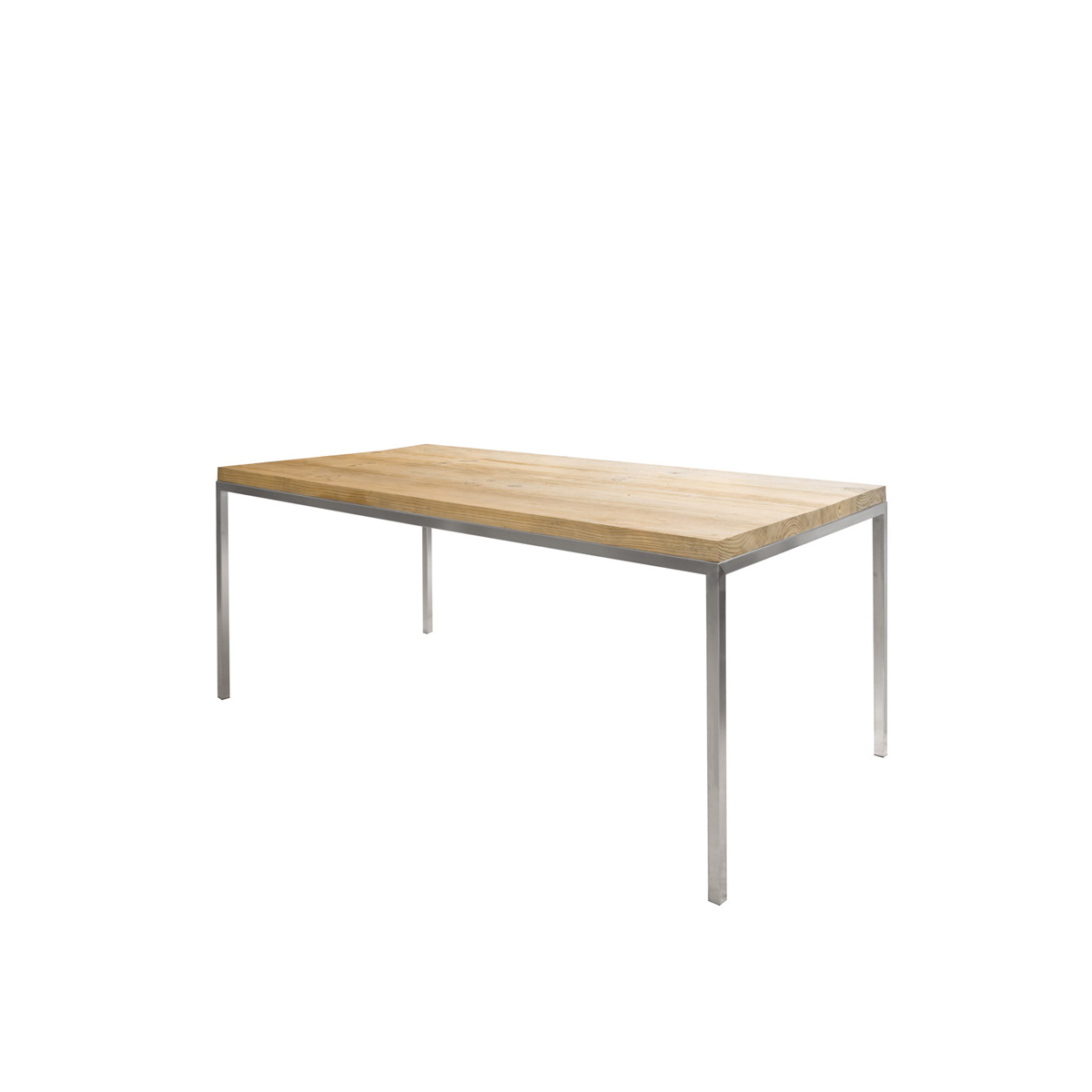 Popular Oak Top On Stainless Steel Frame Inside Dining Tables With Brushed Stainless Steel Frame (View 7 of 30)
