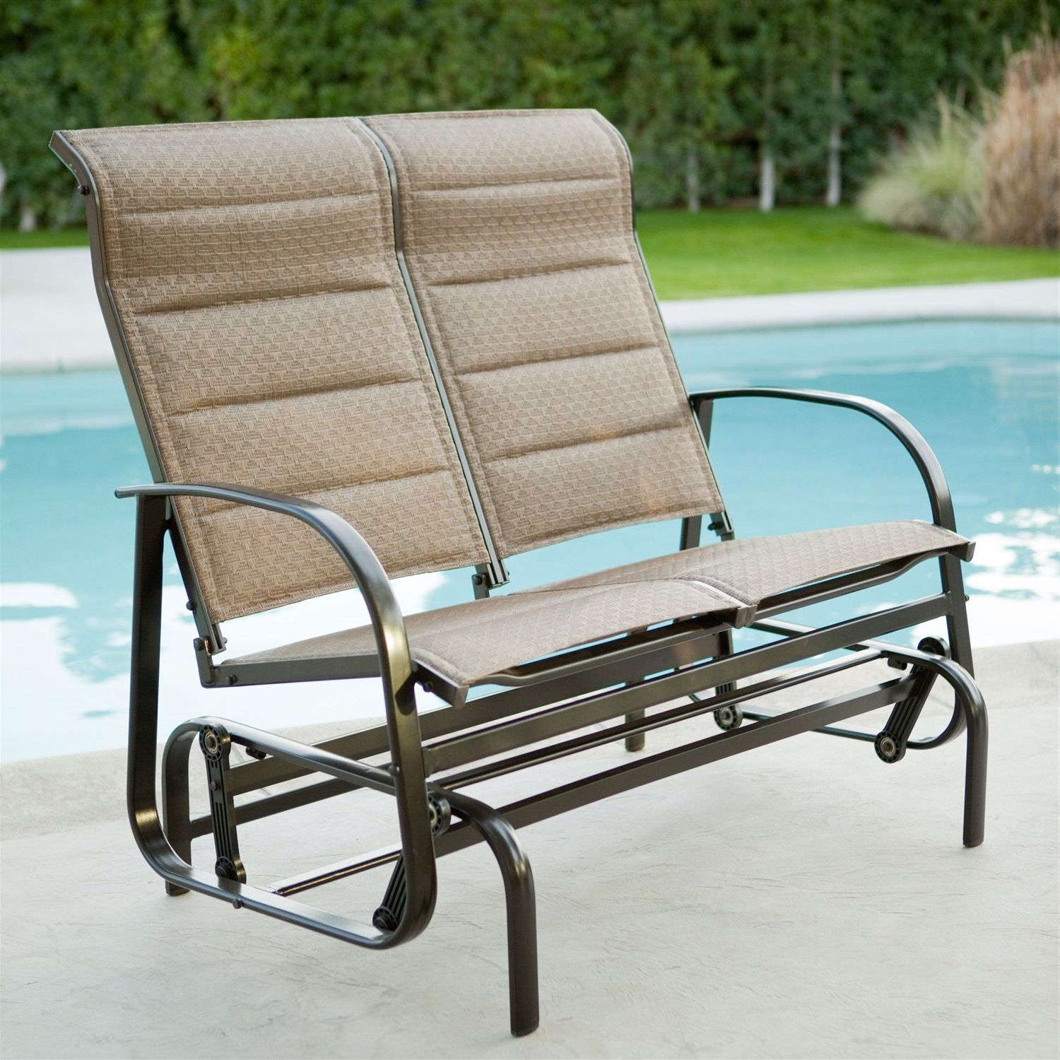 Popular Padded Sling Loveseats With Cushions Pertaining To Weatherproof Outdoor Loveseat Glider Chair With Padded Sling (View 2 of 30)