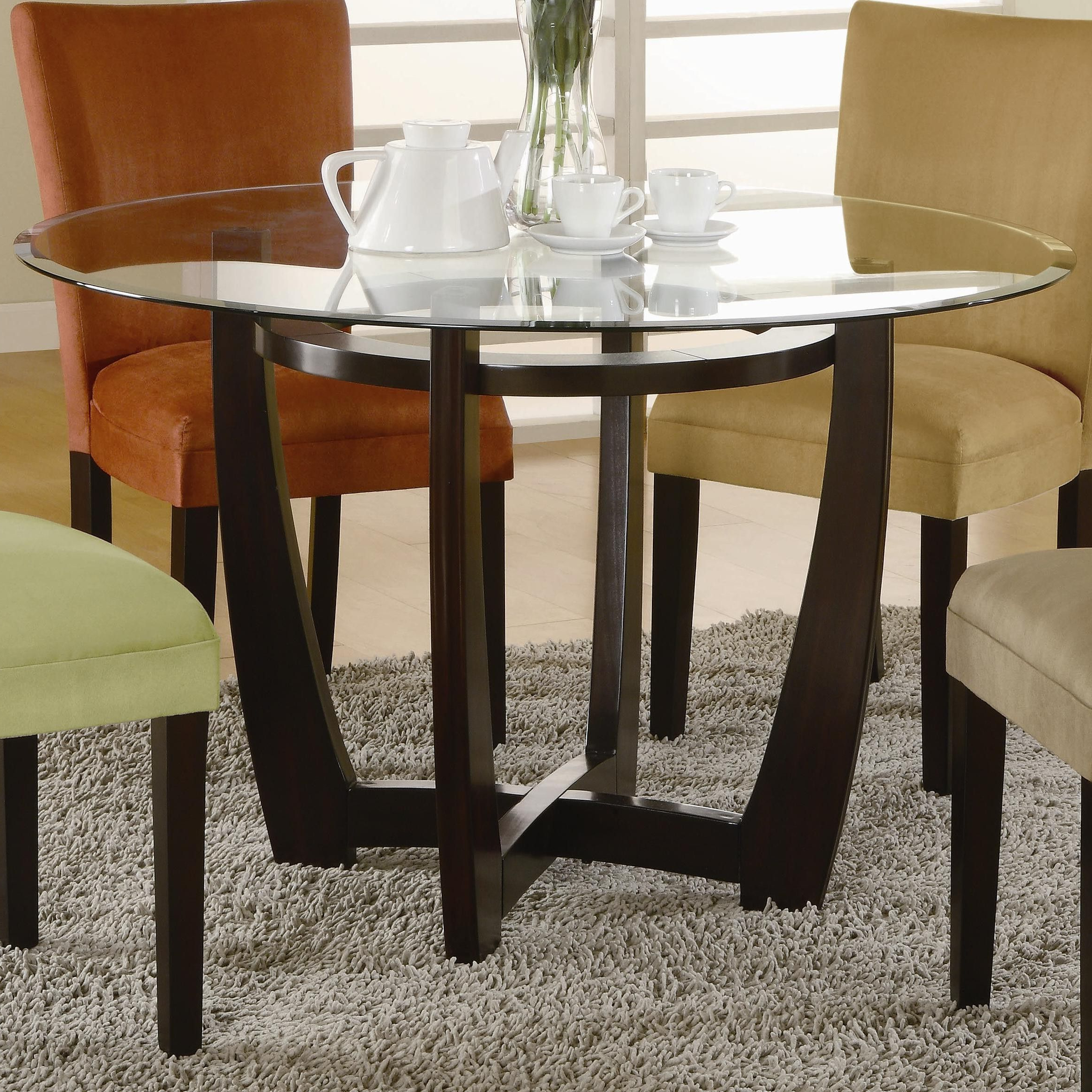 Popular Round Glass Top Dining Table With Wooden Base Home Within Round Glass Top Dining Tables (View 11 of 30)