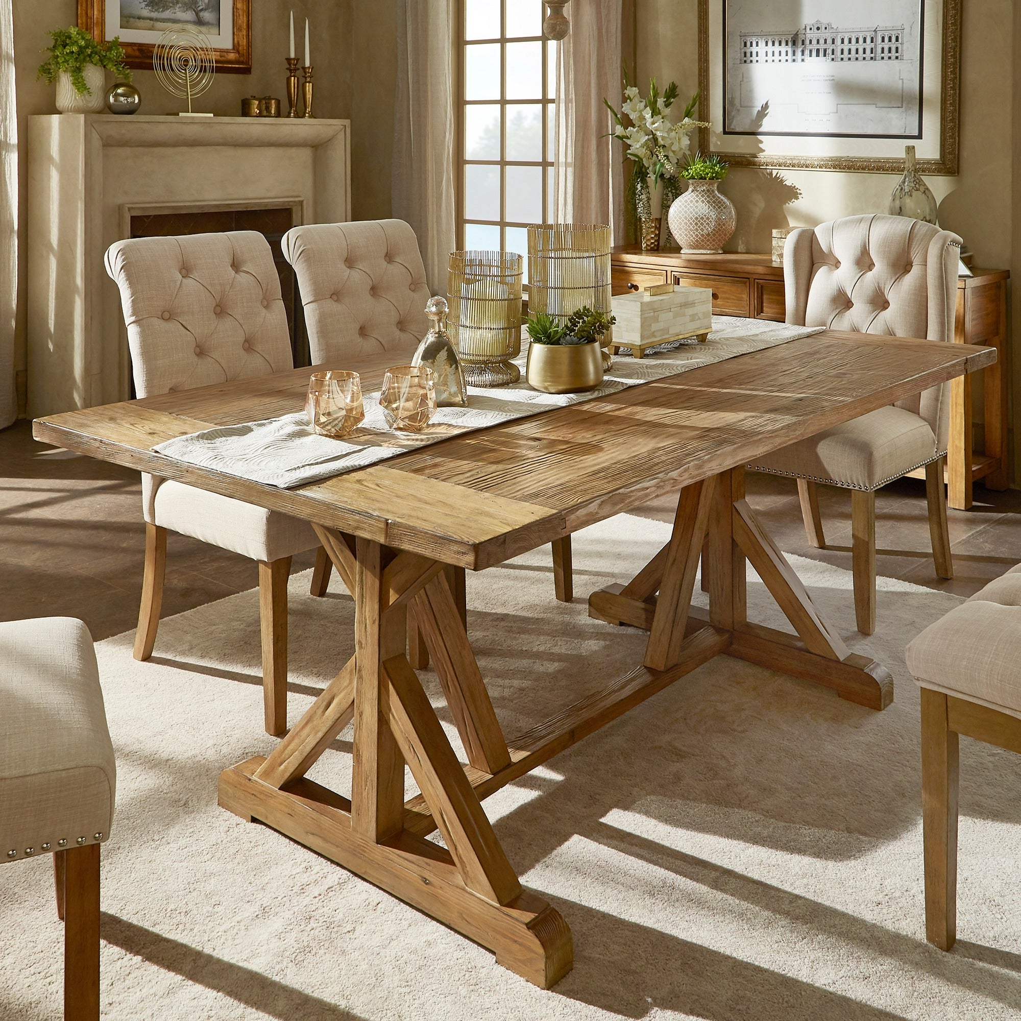 Popular Rustic Pine Small Dining Tables With Regard To Benchwright Rustic Pine Accent Trestle Reinforced Dining Tableinspire Q Artisan (View 10 of 30)