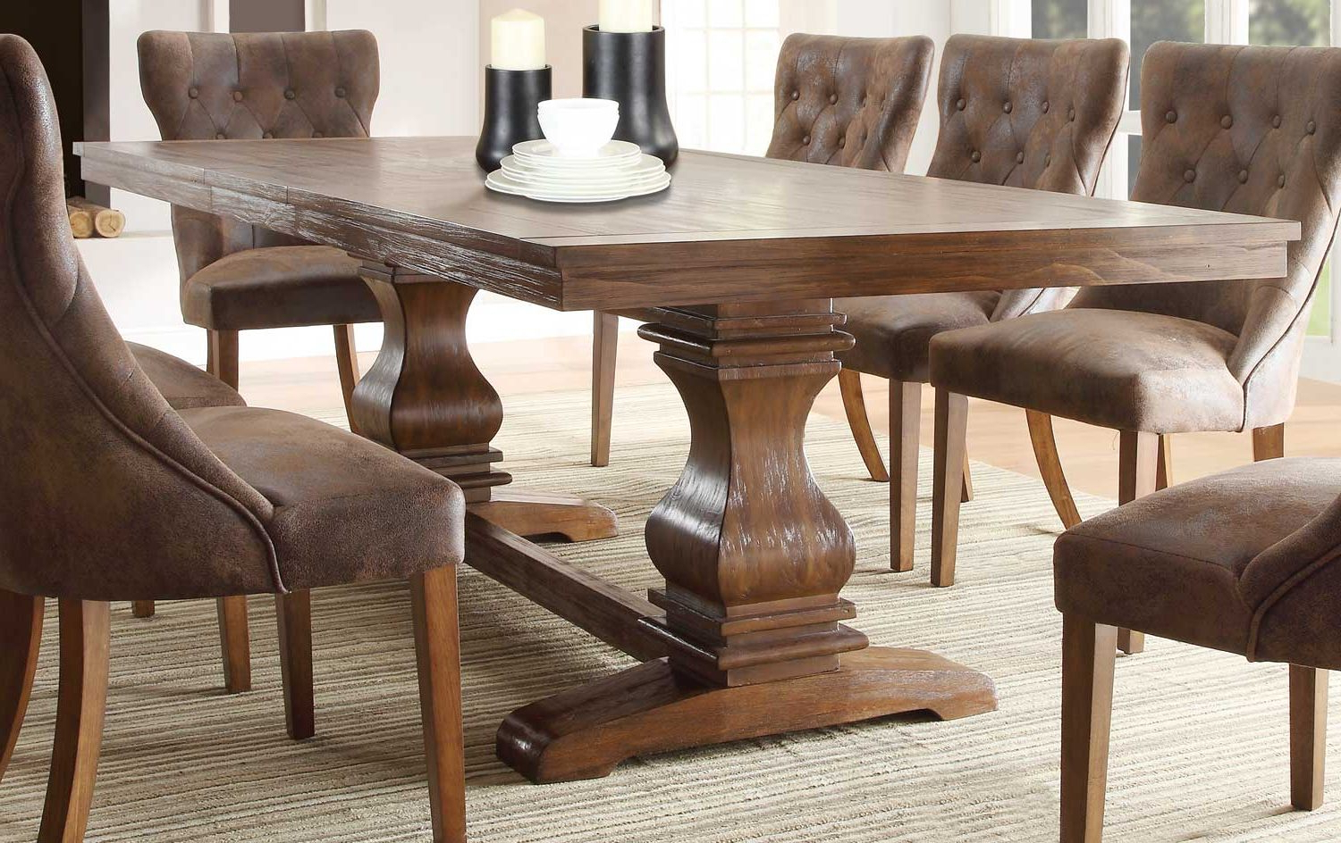 Popular Solid Wood Dining Table In The Dining Room — Gearon Hoffman Home Throughout Rustic Pine Small Dining Tables (View 19 of 30)