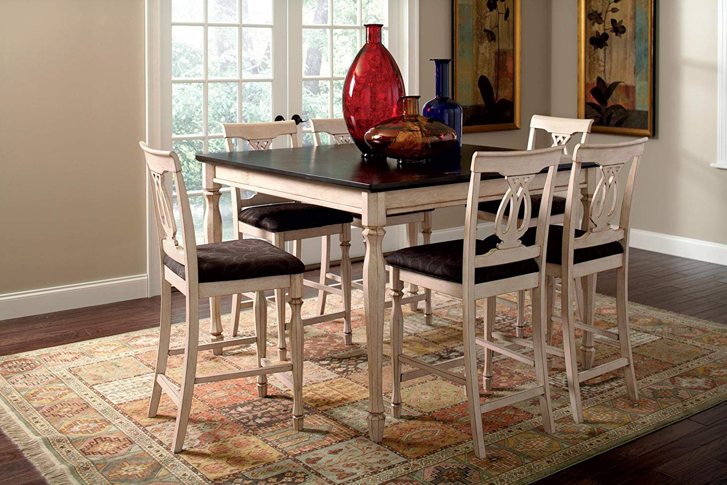 Popular Transitional Antique Walnut Square Casual Dining Tables Intended For Coaster Home Furnishings Transitional Counter Height Table, Antique White And Merlot (View 14 of 30)